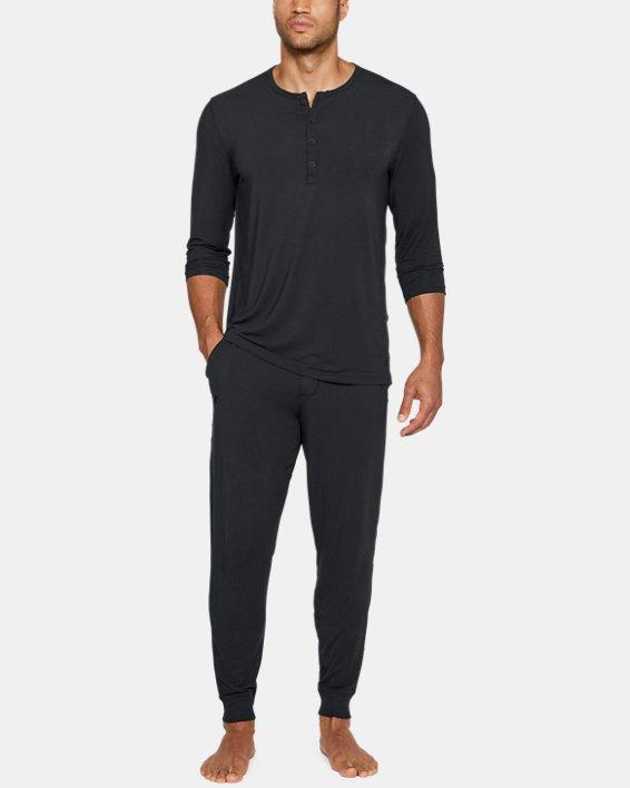 Men's UA RECOVER™ Ultra Comfort Sleepwear Henley, Black, pdpMainDesktop image number 3
