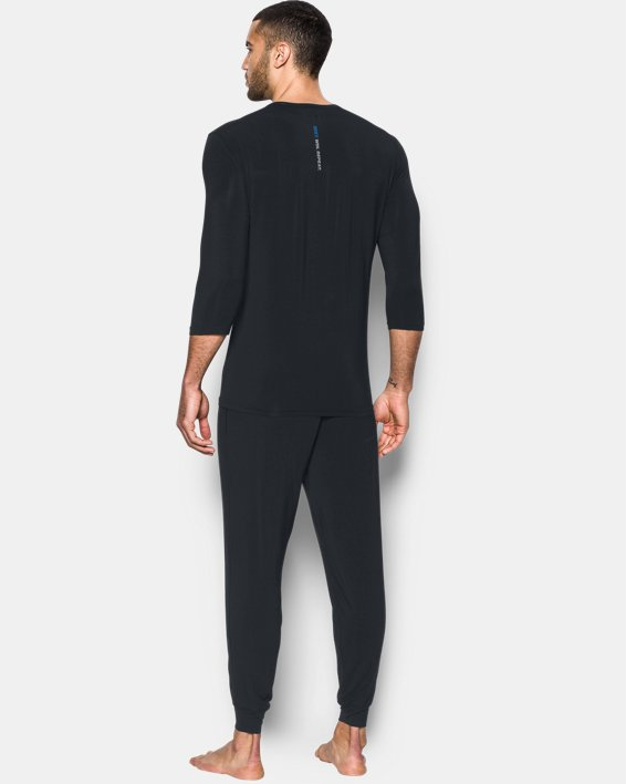 Men's UA RECOVER™ Ultra Comfort Sleepwear Henley, Black, pdpMainDesktop image number 1