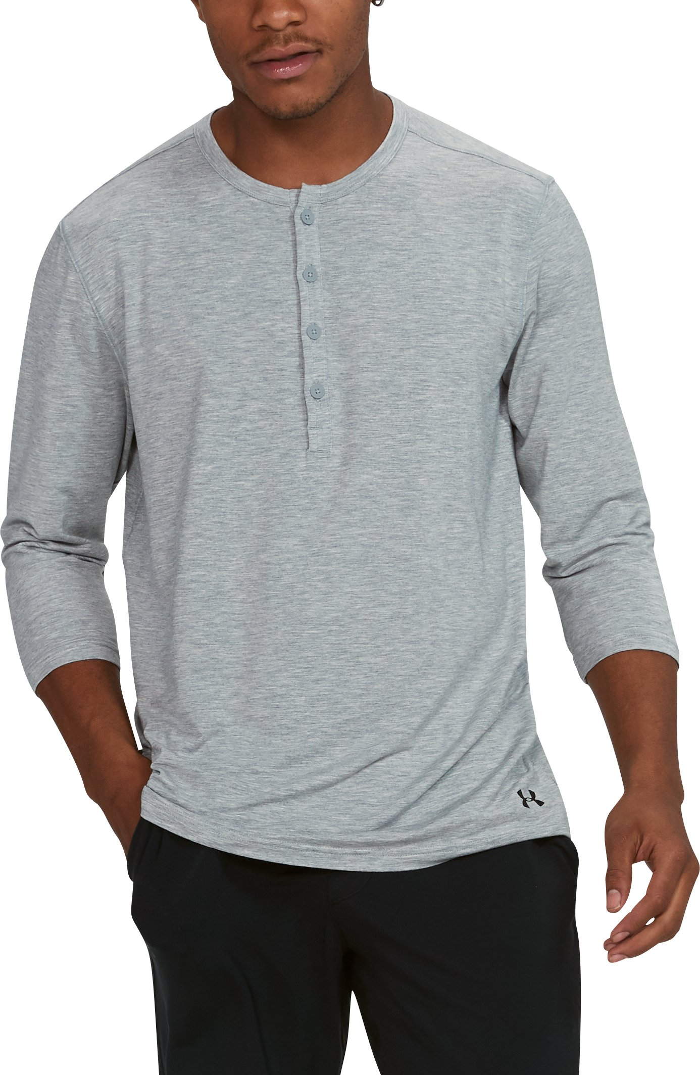Men's Athlete Recovery Elite Sleepwear Henley, True Gray Heather