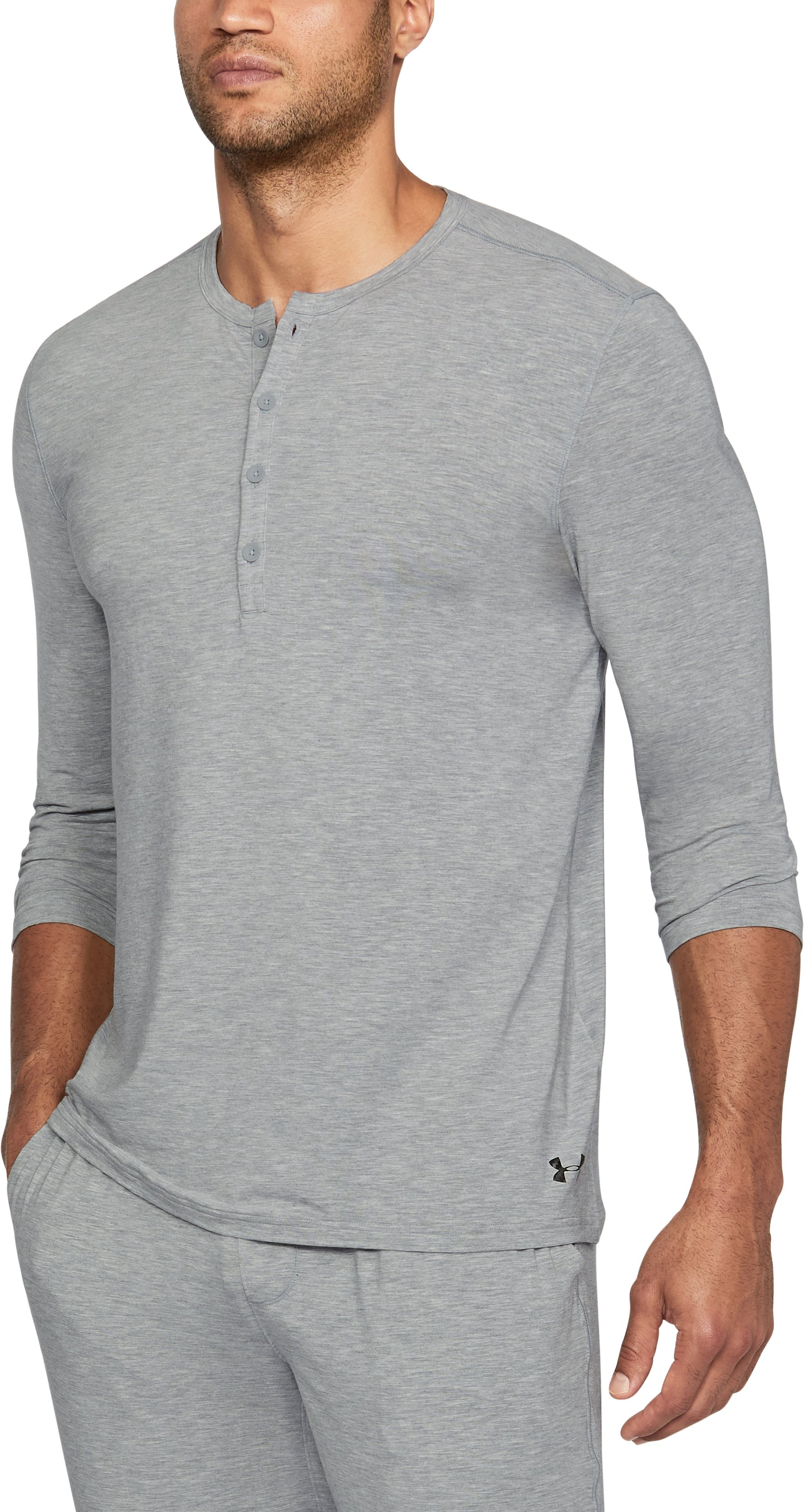 Men's Athlete Recovery Ultra Comfort Sleepwear Henley, True Gray Heather, undefined