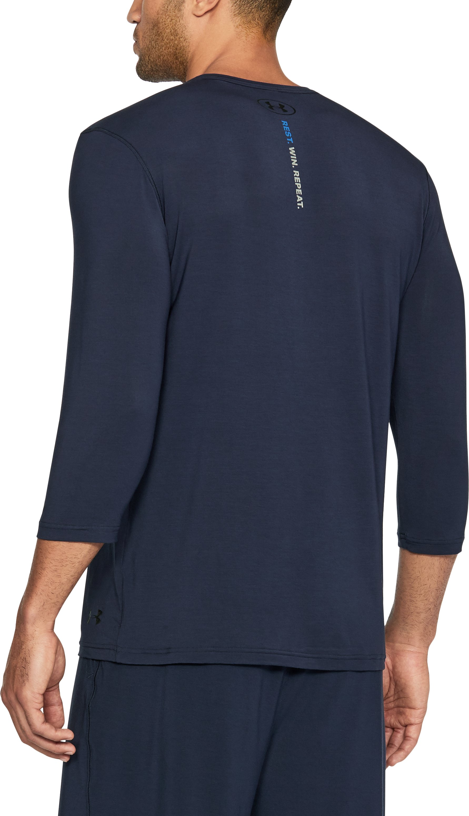 Men's Athlete Recovery Sleepwear Henley, Midnight Navy, undefined