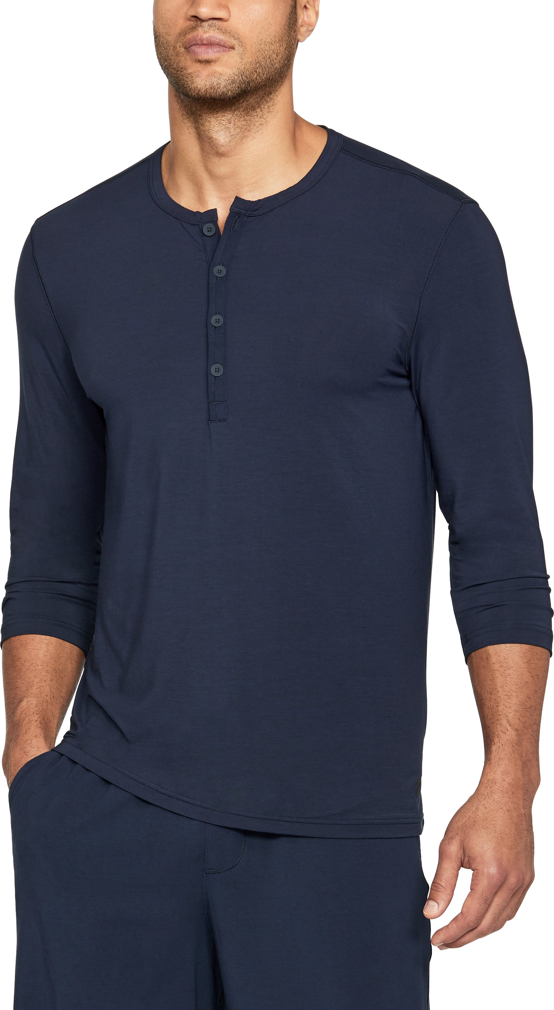 Men's Athlete Recovery Sleepwear Henley, Midnight Navy