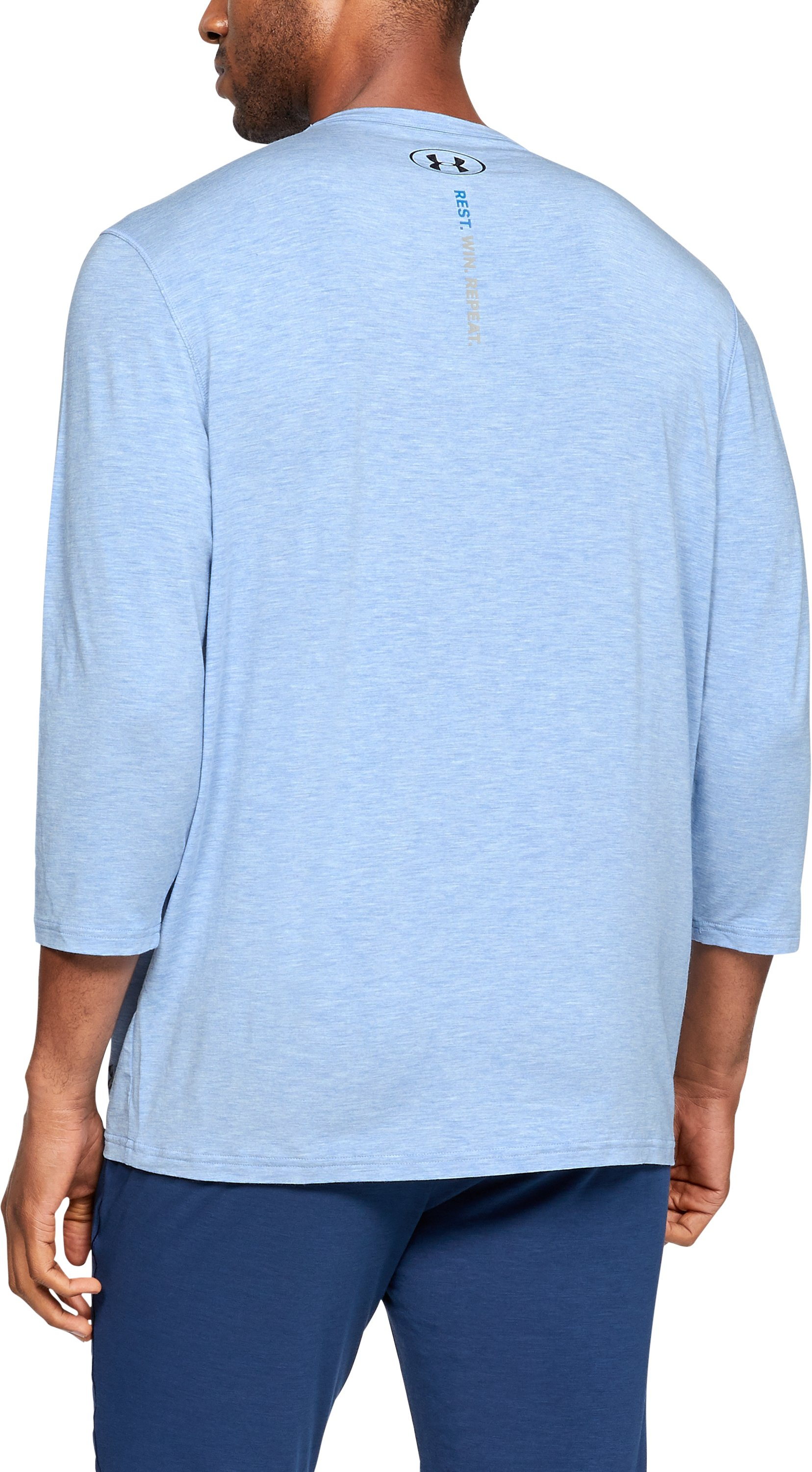 Men's Athlete Recovery Ultra Comfort Sleepwear Henley, WATER MEDIUM HEATHER,