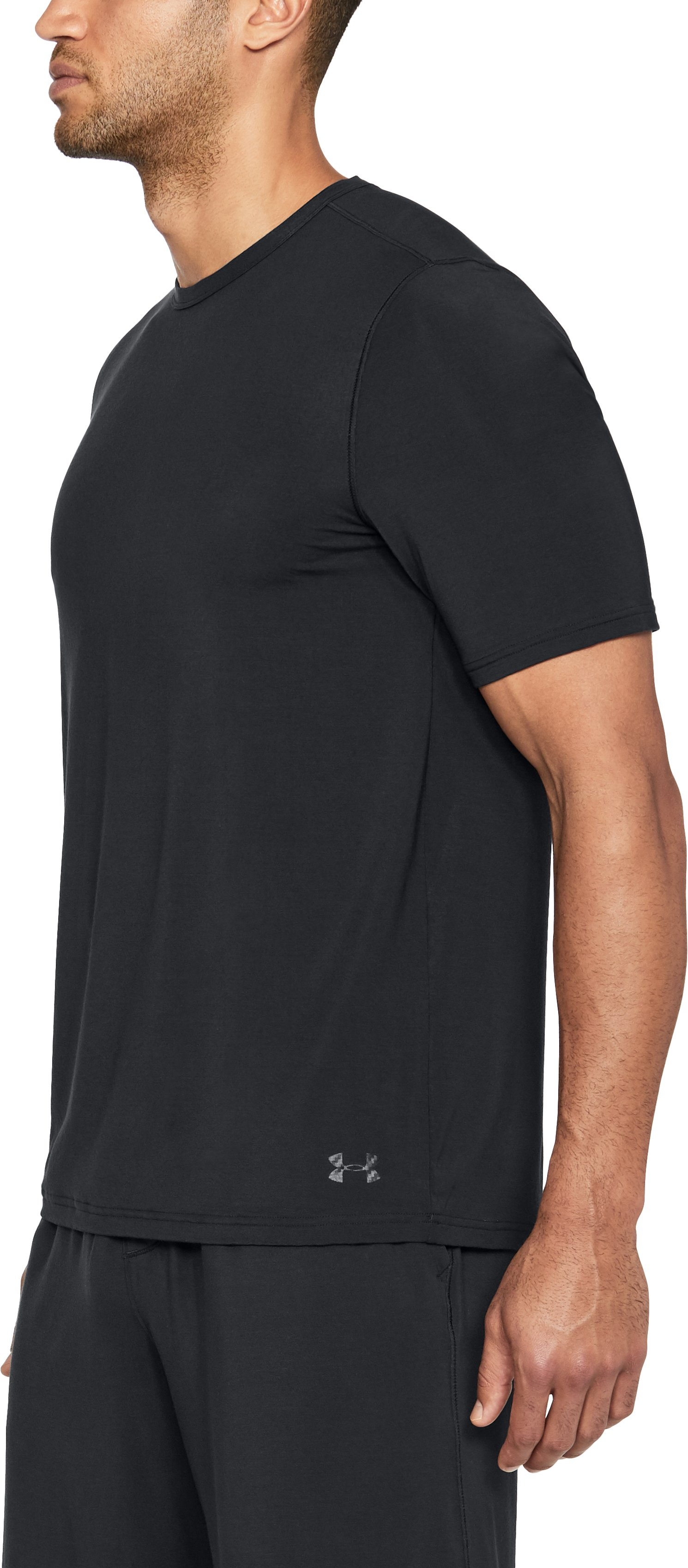 Men's Athlete Recovery Ultra Comfort Sleepwear Short Sleeve, Black ,