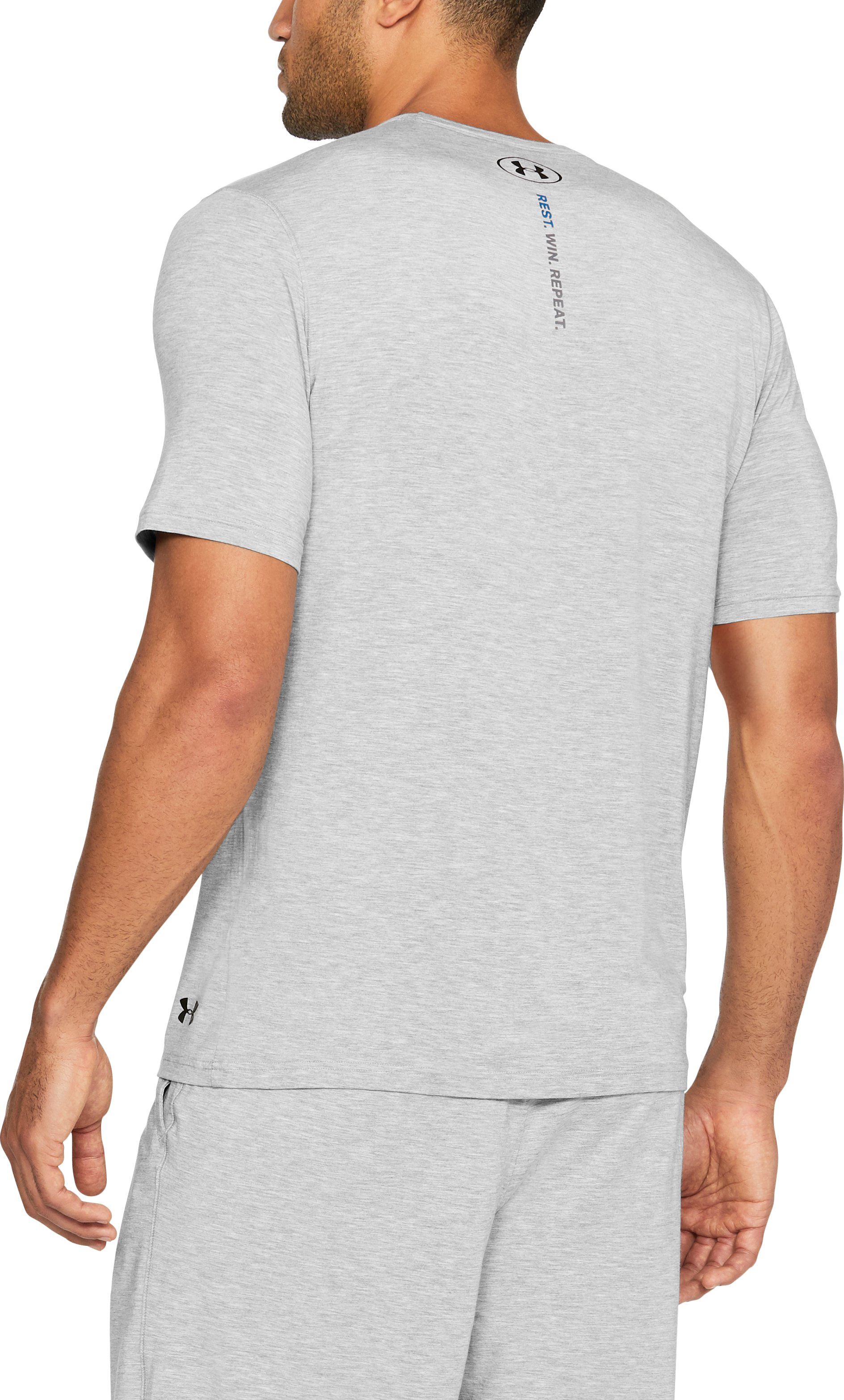 Men's Athlete Recovery Ultra Comfort Sleepwear Short Sleeve, True Gray Heather,