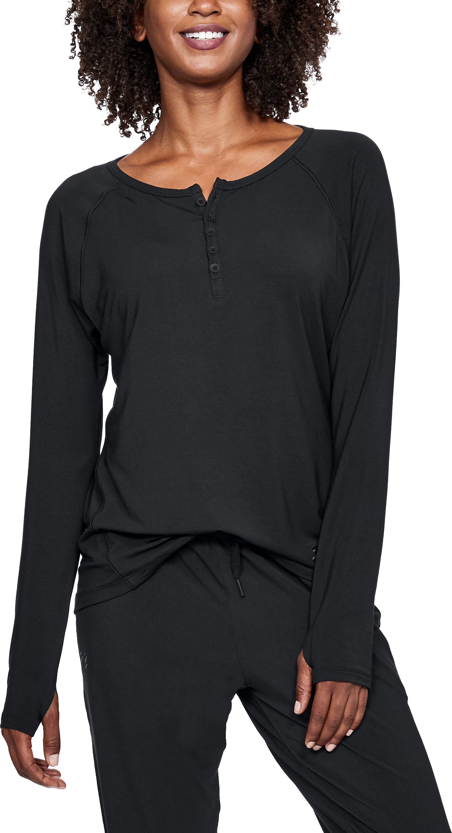 Women's Athlete Recovery Ultra Comfort Sleepwear Henley, Black