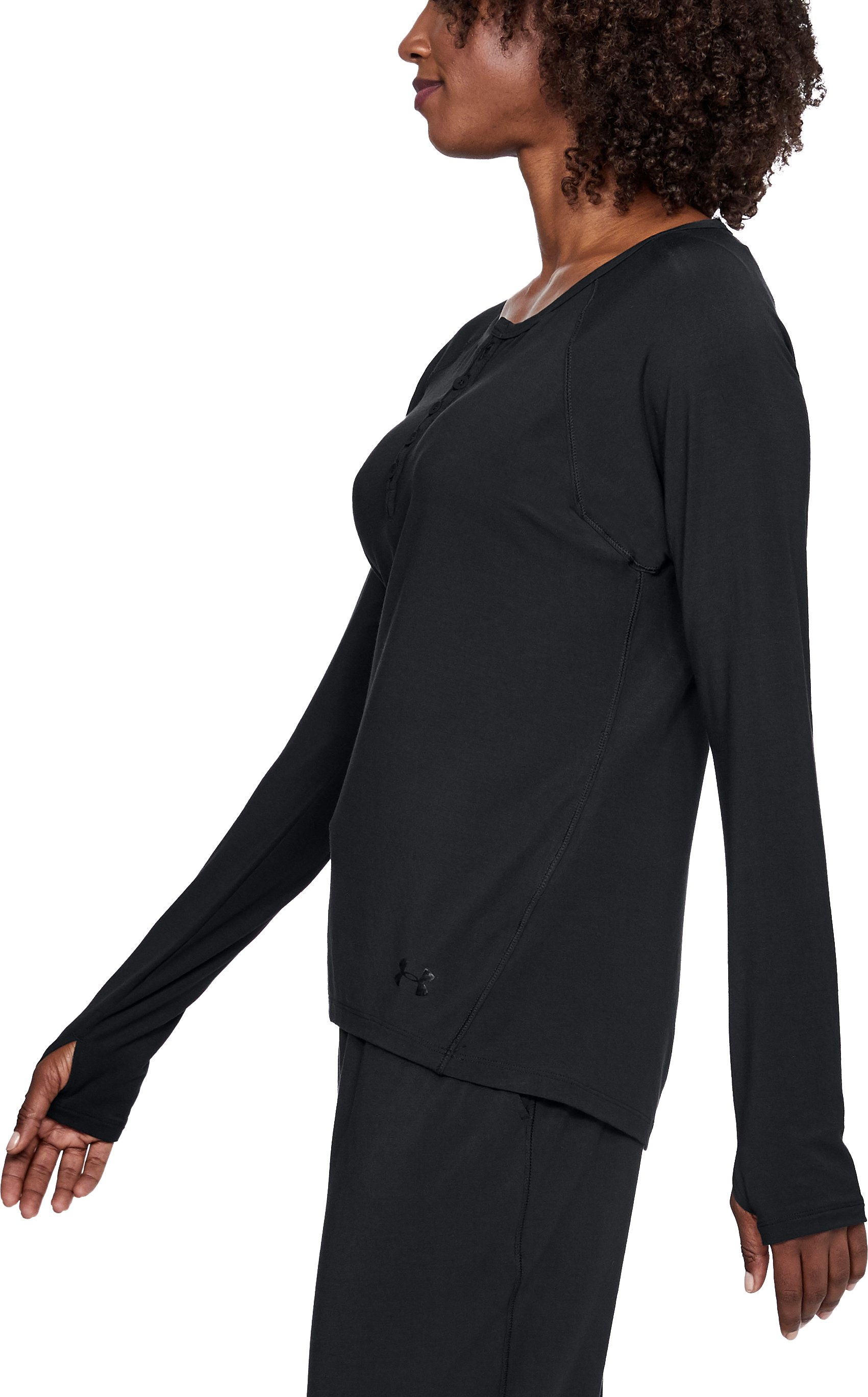 Women's Athlete Recovery Ultra Comfort Sleepwear Henley, Black ,