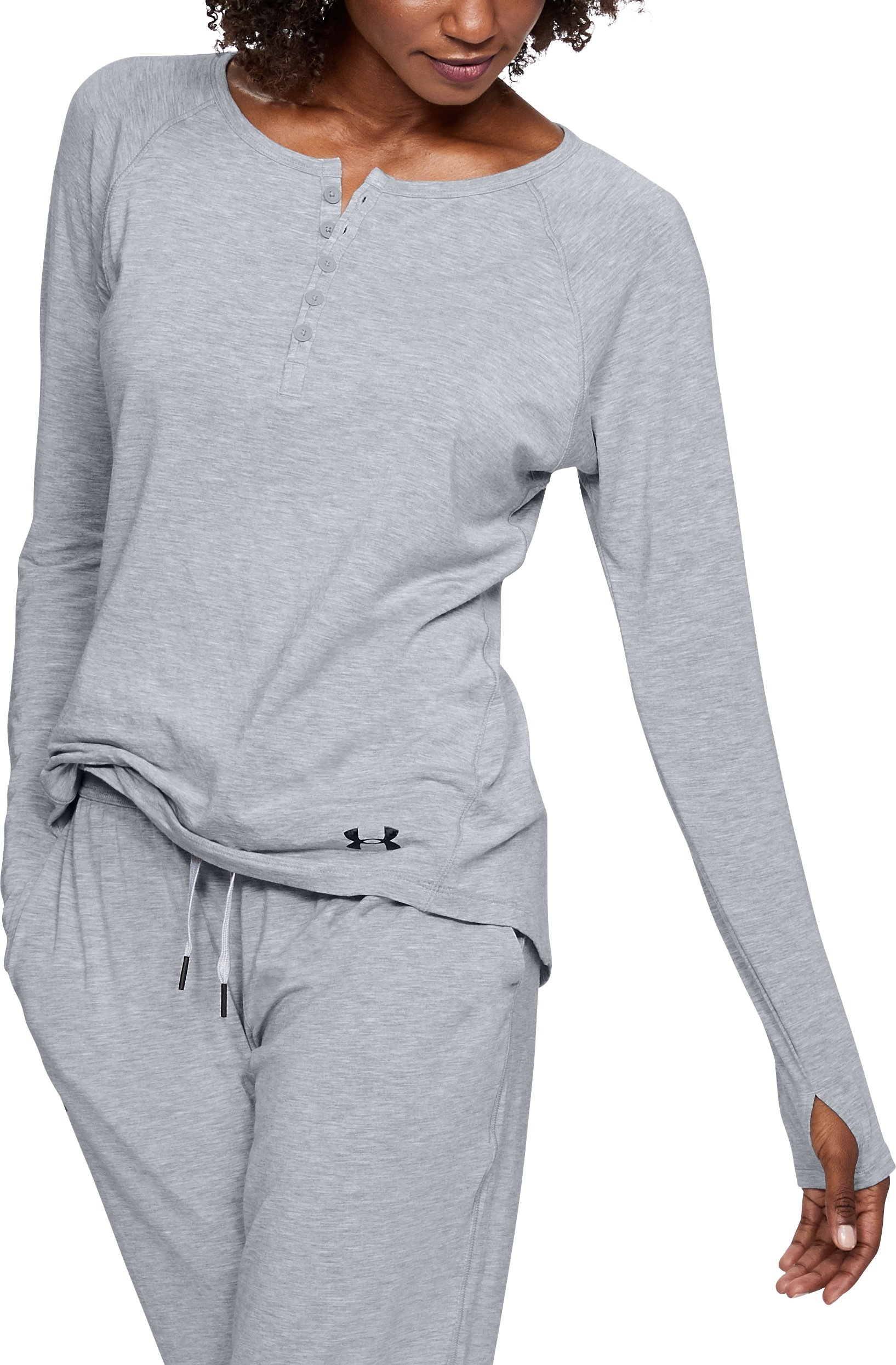 Women's Athlete Recovery Ultra Comfort Sleepwear Henley, True Gray Heather