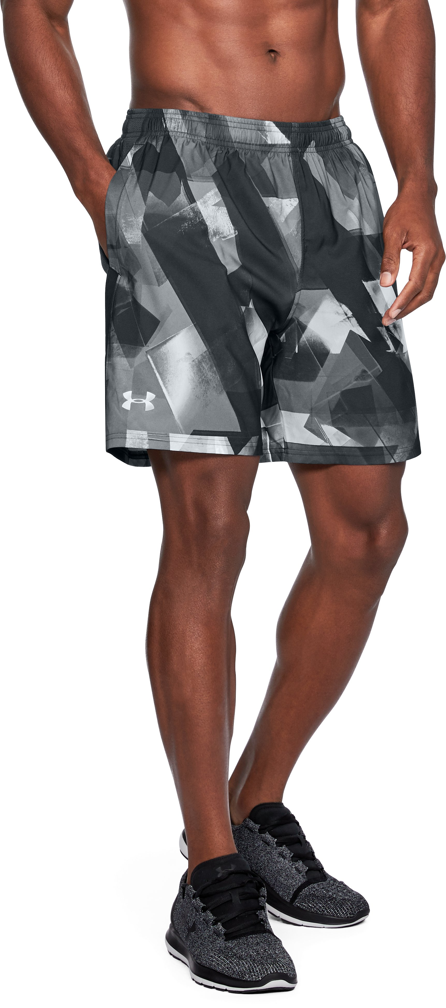 Men's UA Launch SW Printed 7'' Shorts, ANTHRACITE