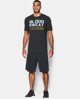 New Arrival  Men's UA x Project Rock Blood Sweat Respect T-Shirt LIMITED TIME: FREE SHIPPING 1 Color $39.99