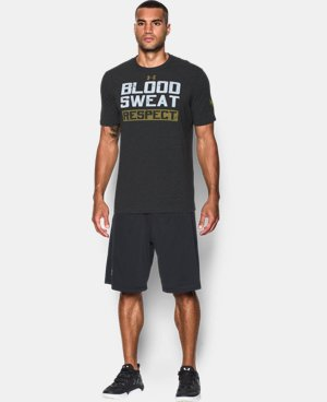New Arrival  Men's UA x Project Rock Blood Sweat Respect T-Shirt  1 Color $39.99