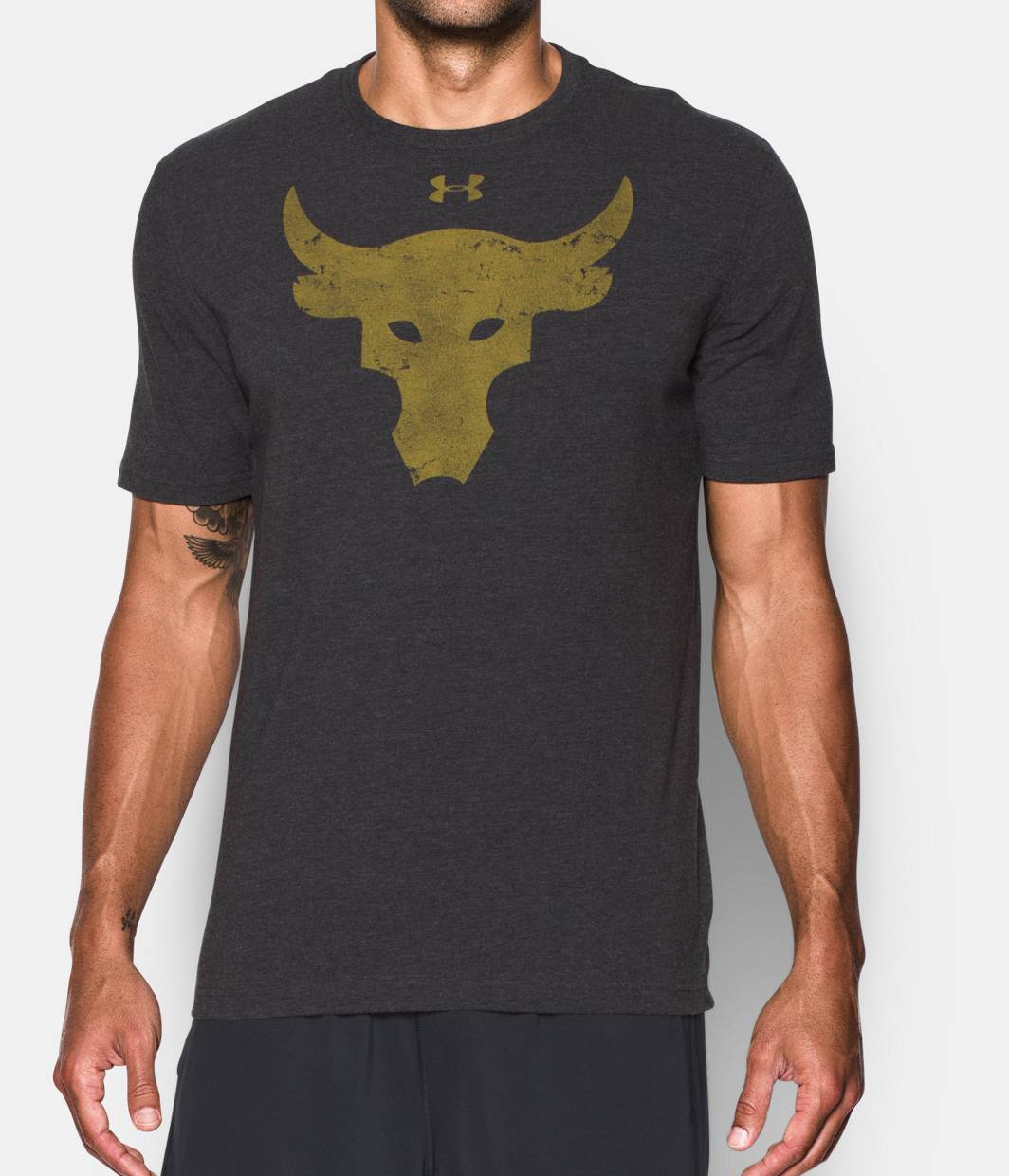 T black shirt rock - Men S Ua X Project Rock Brahma Bull T Shirt Black Zoomed Image
