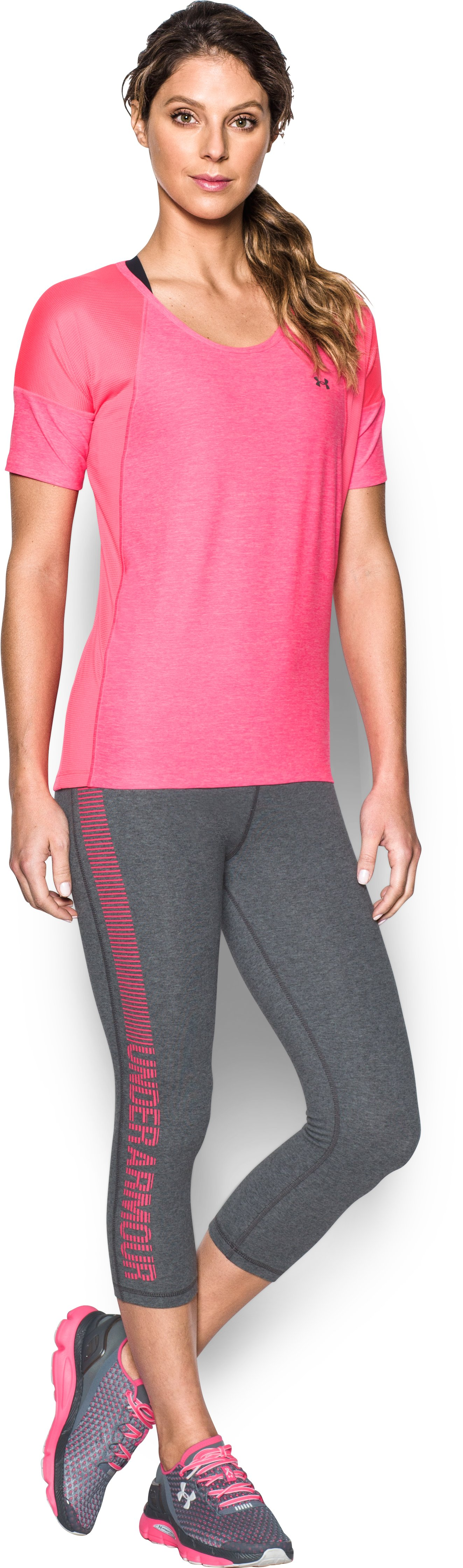 Women's UA Favorite Graphic Capris, Carbon Heather, Front