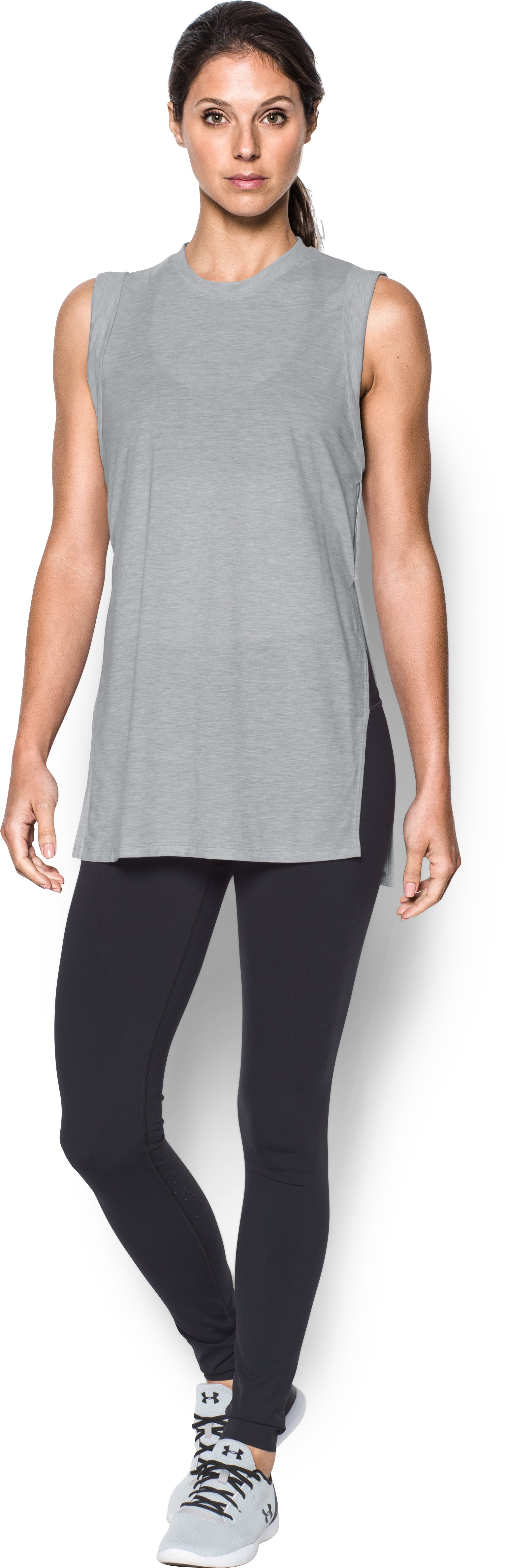 Women's UA Breathe Tunic Tank, True Gray Heather, Front
