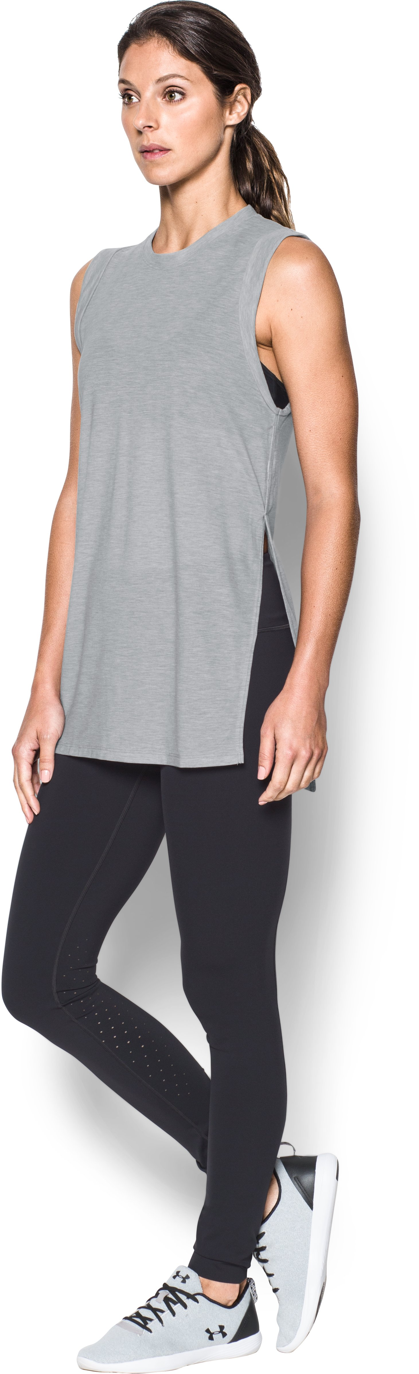 Women's UA Breathe Tunic Tank, True Gray Heather, undefined