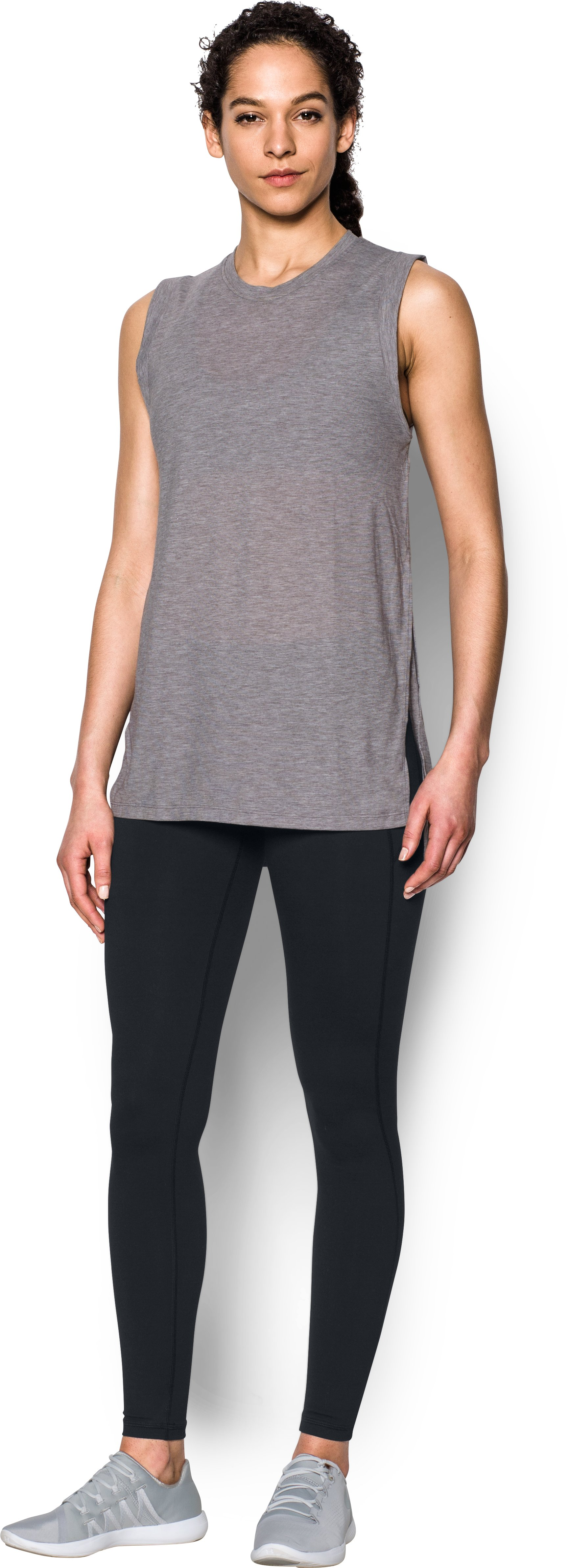 Women's UA Breathe Tunic Tank, Carbon Heather, Front