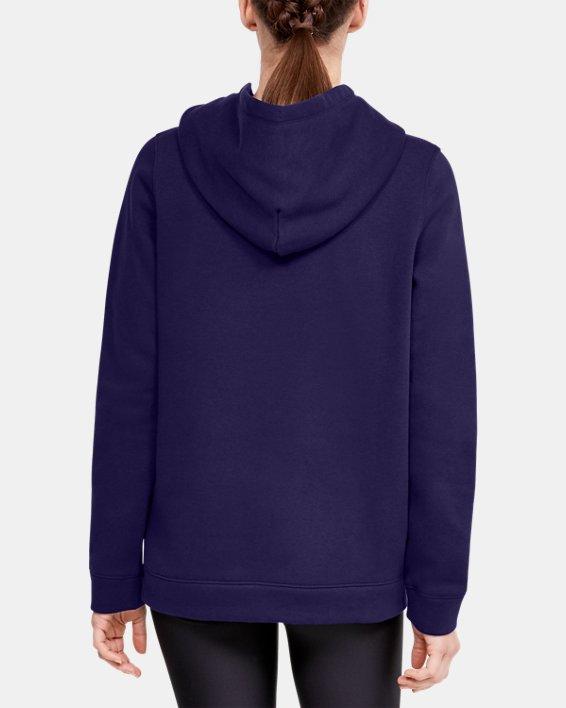 Women's UA Hustle Fleece Hoodie, Purple, pdpMainDesktop image number 2