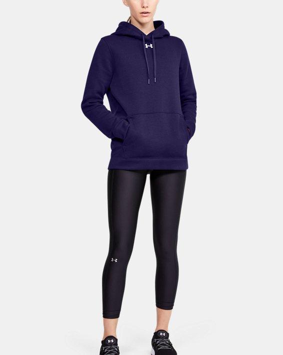 Women's UA Hustle Fleece Hoodie, Purple, pdpMainDesktop image number 1