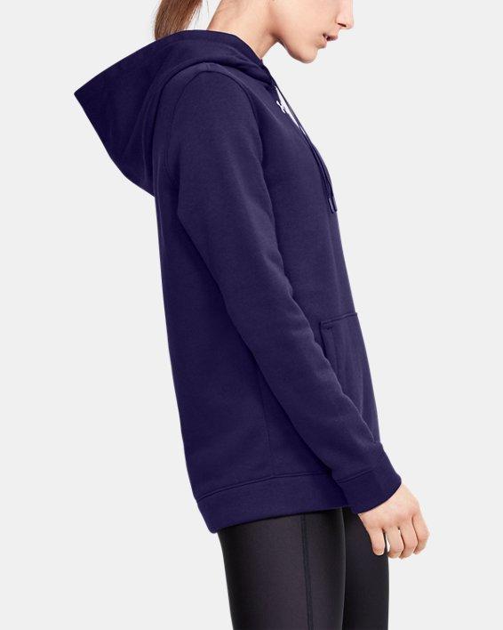 Women's UA Hustle Fleece Hoodie, Purple, pdpMainDesktop image number 3