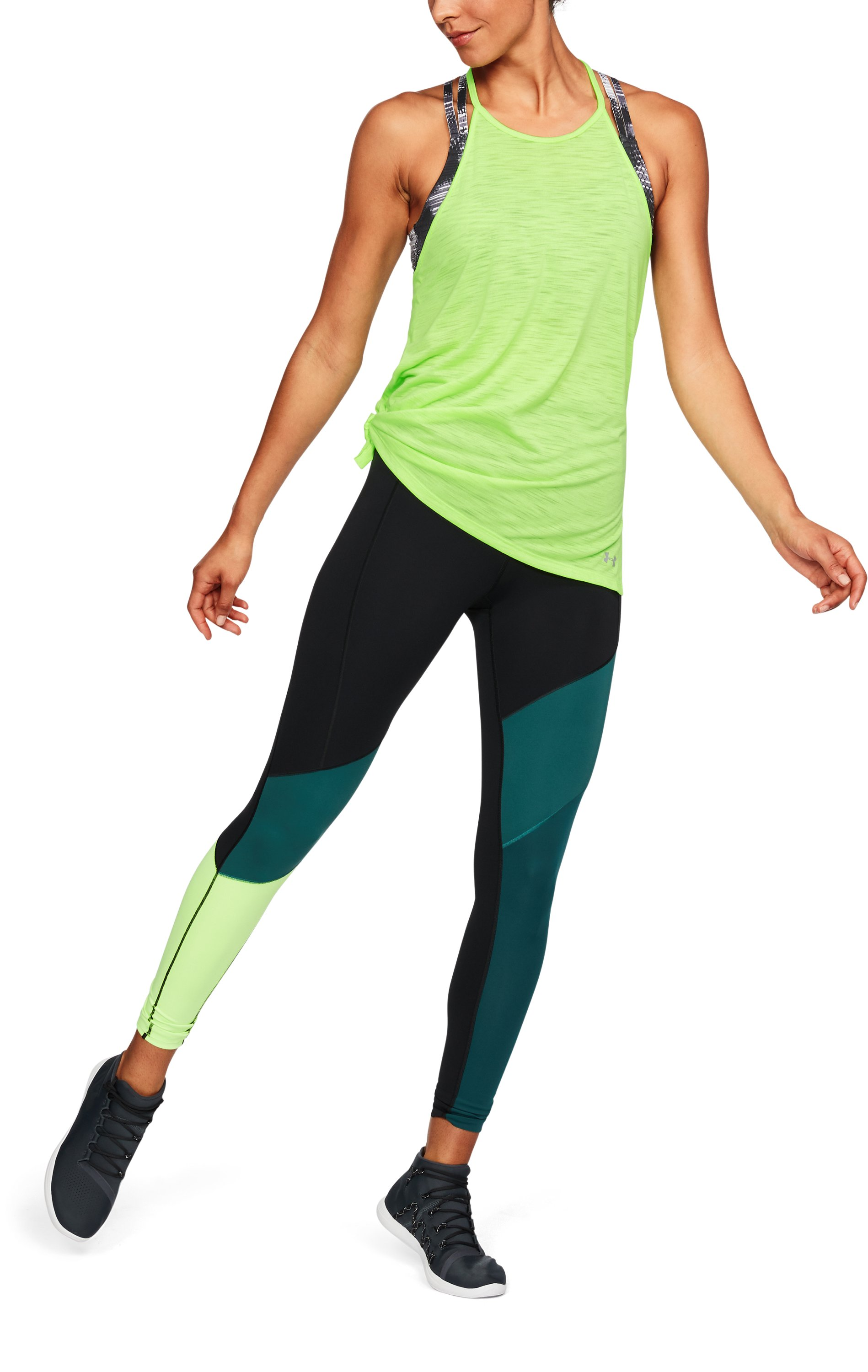 Women's UA Threadborne™ High Neck Tank, QUIRKY LIME