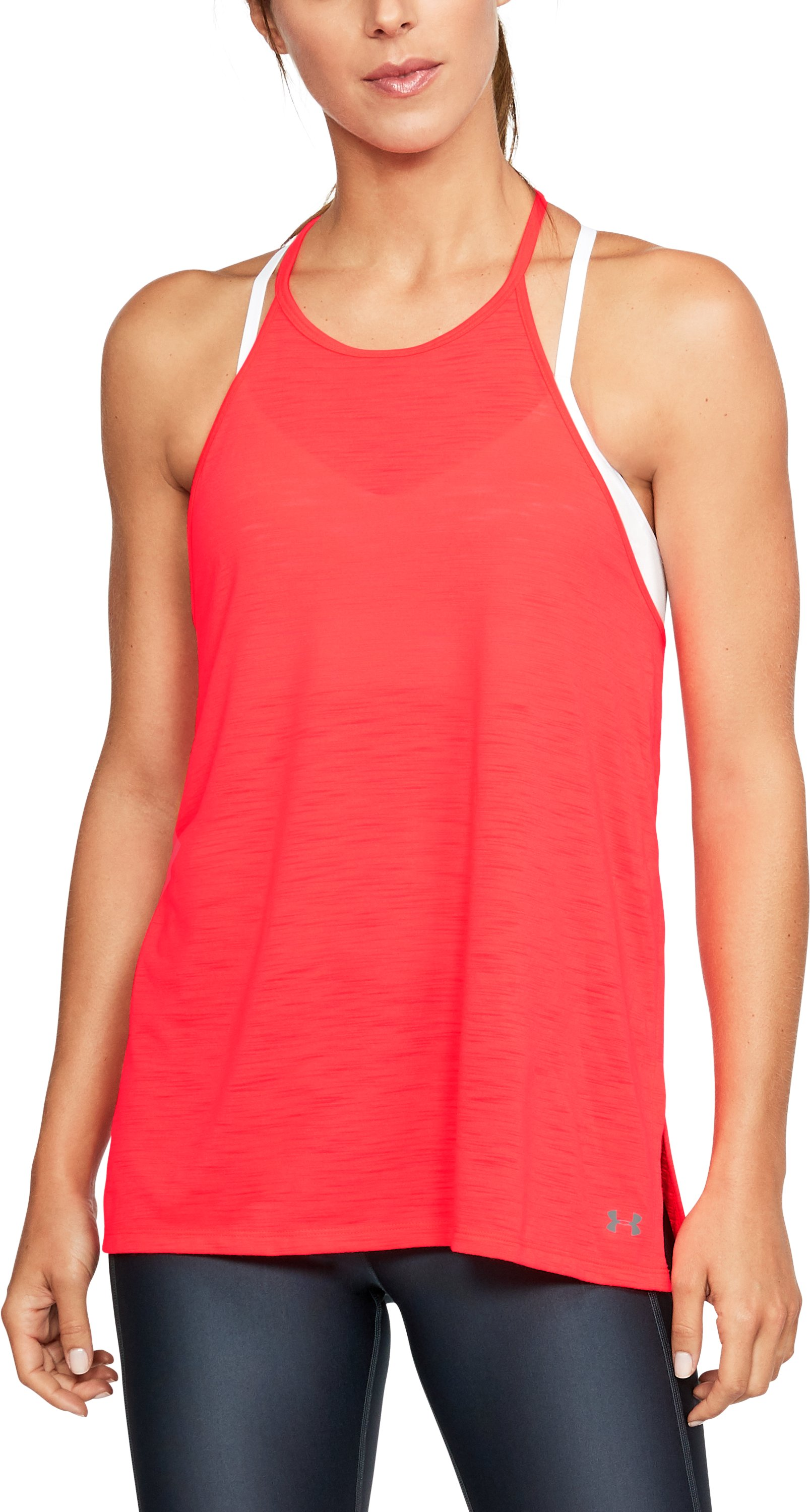 Women's UA Threadborne™ High Neck Tank, MARATHON RED