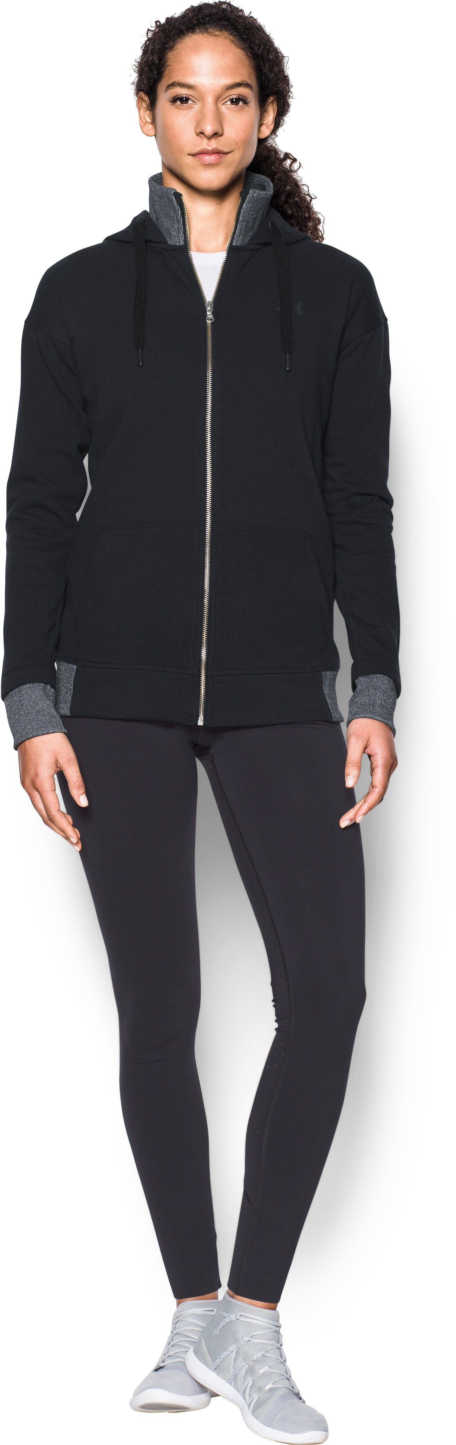 Women's UA Threadborne™ Fleece Full Zip Hoodie, Black , Front