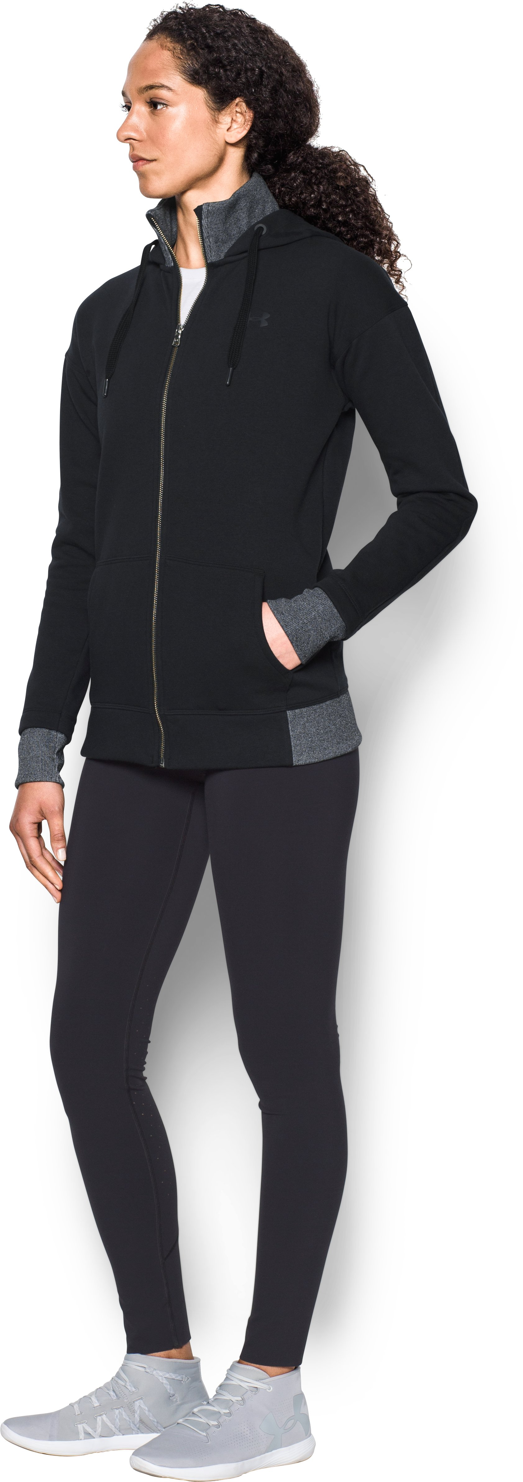 Women's UA Threadborne™ Fleece Full Zip Hoodie, Black ,
