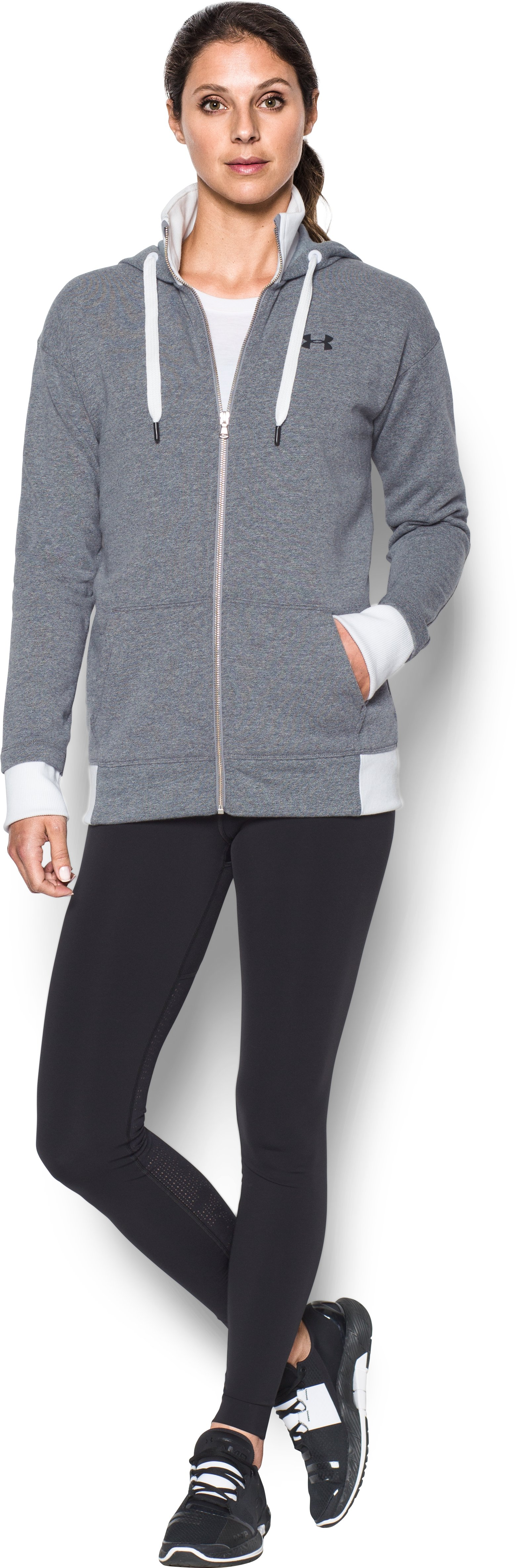 Women's UA Threadborne™ Fleece Full Zip Hoodie, STEALTH GRAY, Front