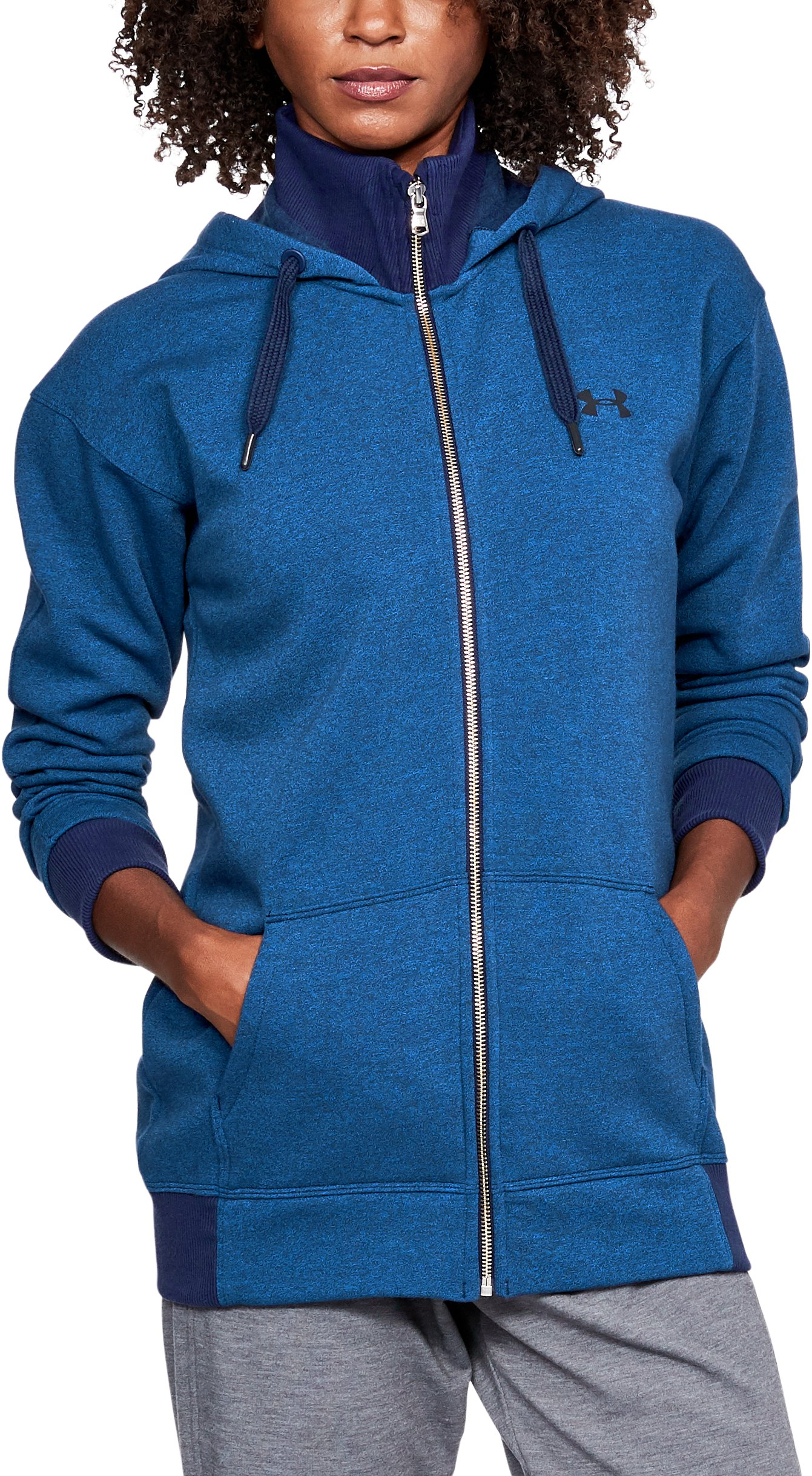 Women's UA Threadborne™ Fleece Full Zip Hoodie, LAPIS BLUE,