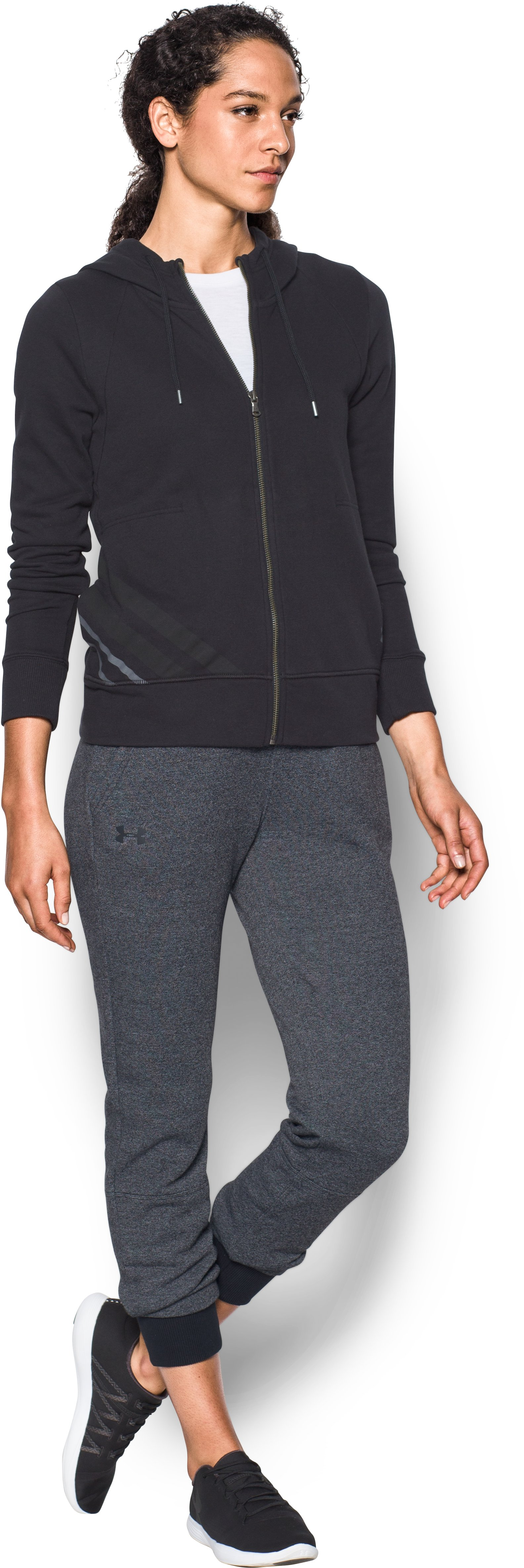 Women's UA Threadborne™ Fleece Crop, Black , Front