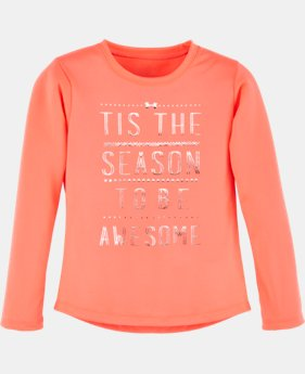New Arrival Girls' Toddler UA Tis The Season Long Sleeve   $24.99