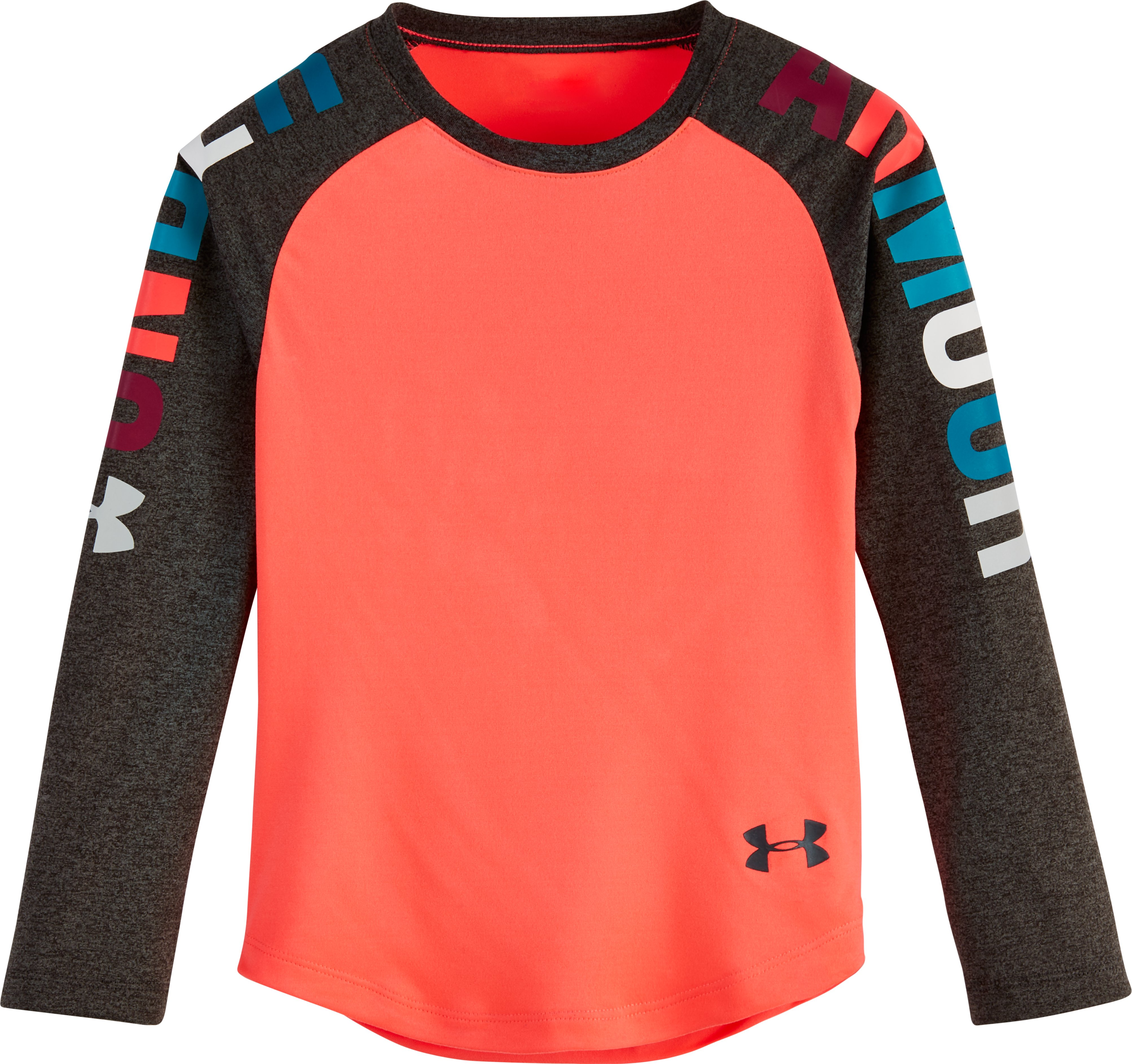 Girls' Infant UA Rainbow Wordmark Raglan, PINK CHROMA, Laydown