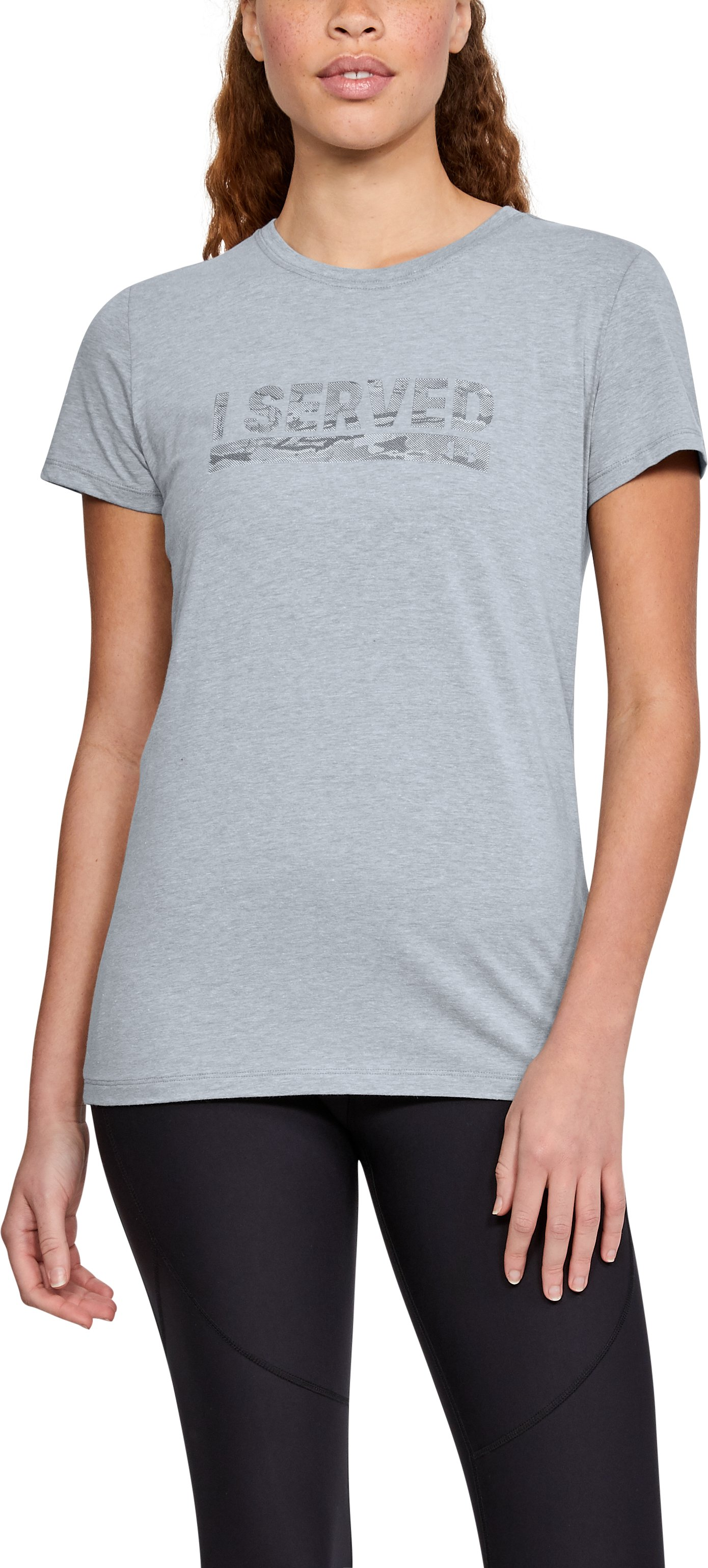Women's UA Freedom I Served T-Shirt, STEEL LIGHT HEATHER,