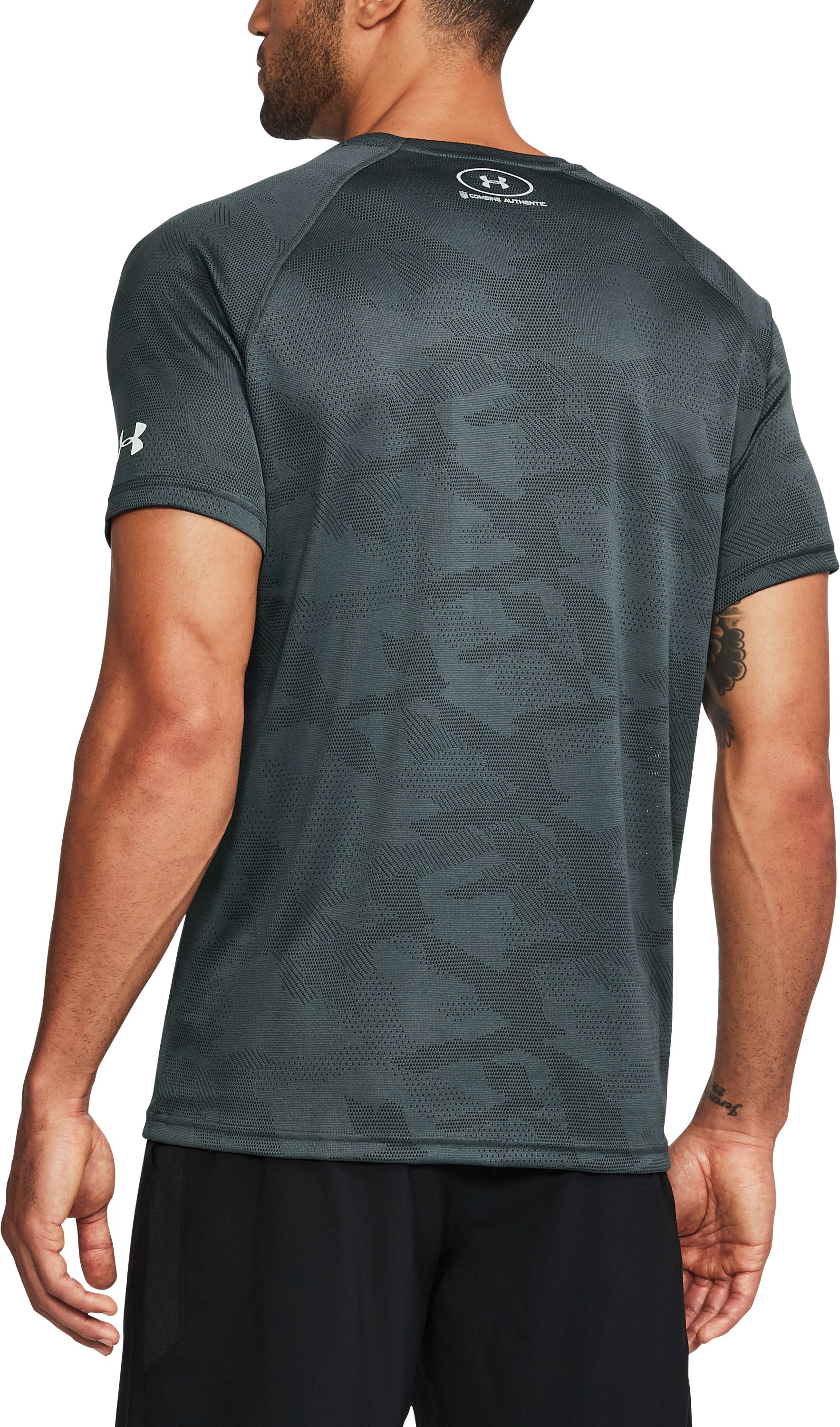 Men's NFL Combine Authentic UA Tech™ Jacquard T-Shirt , NFL_BALTIMORE RAVENS_STEALTH GRAY, undefined