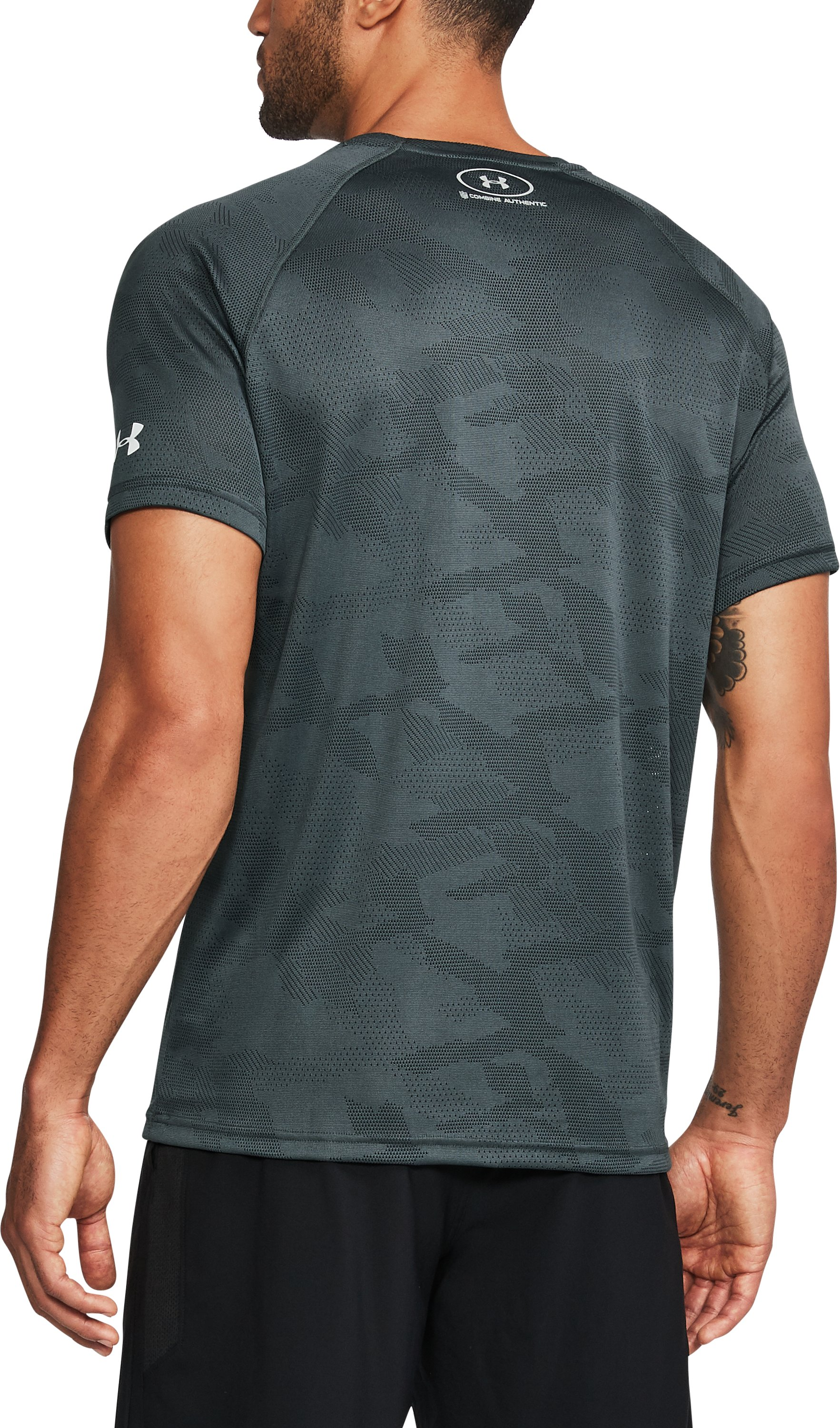 Men's NFL Combine Authentic UA Tech™ Jacquard T-Shirt , NFL_PHILADELPHIA EAGLES_STEALTH GRAY, undefined