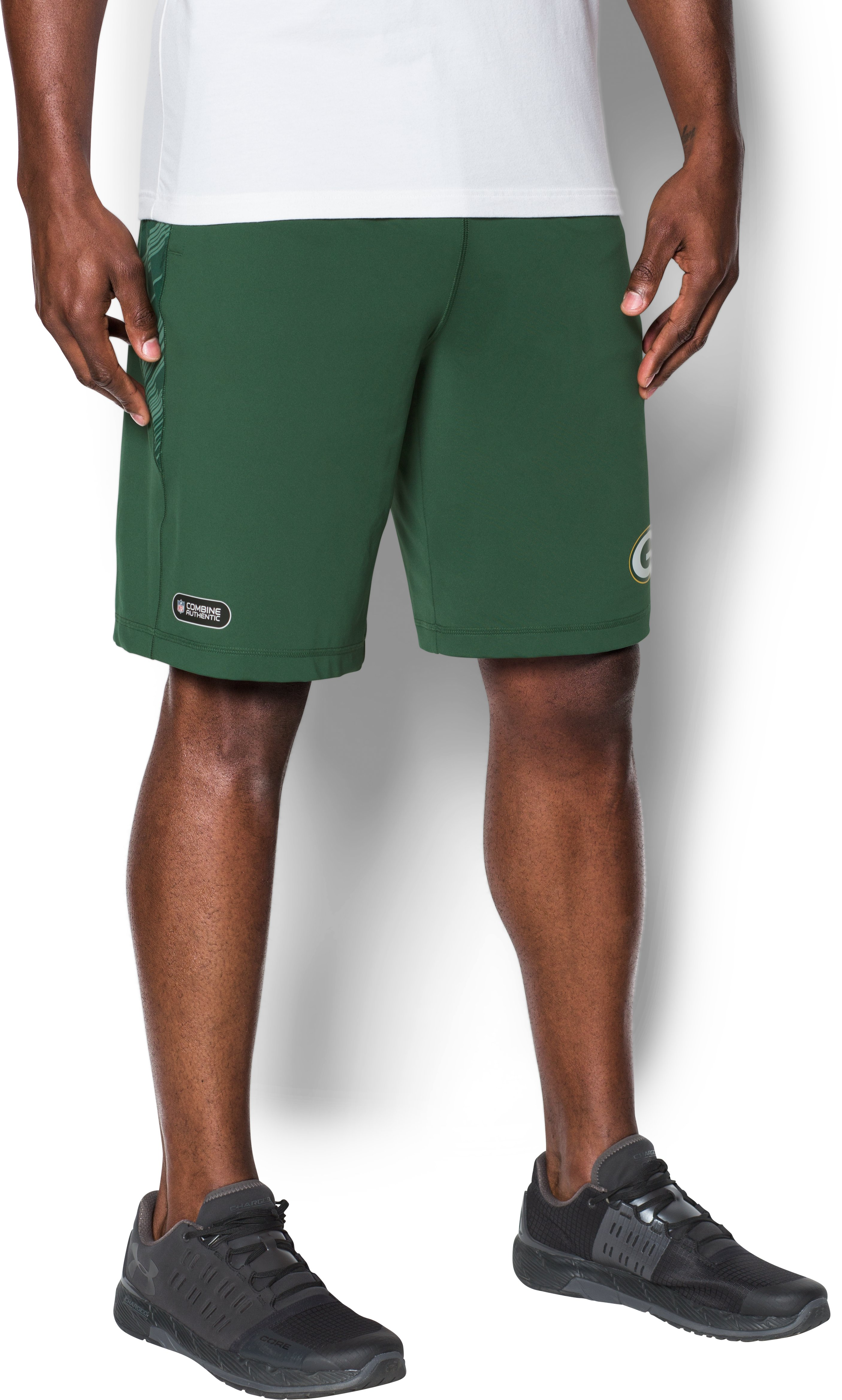 Men's NFL Combine Authentic UA Raid Printed Shorts, Green Bay Packers