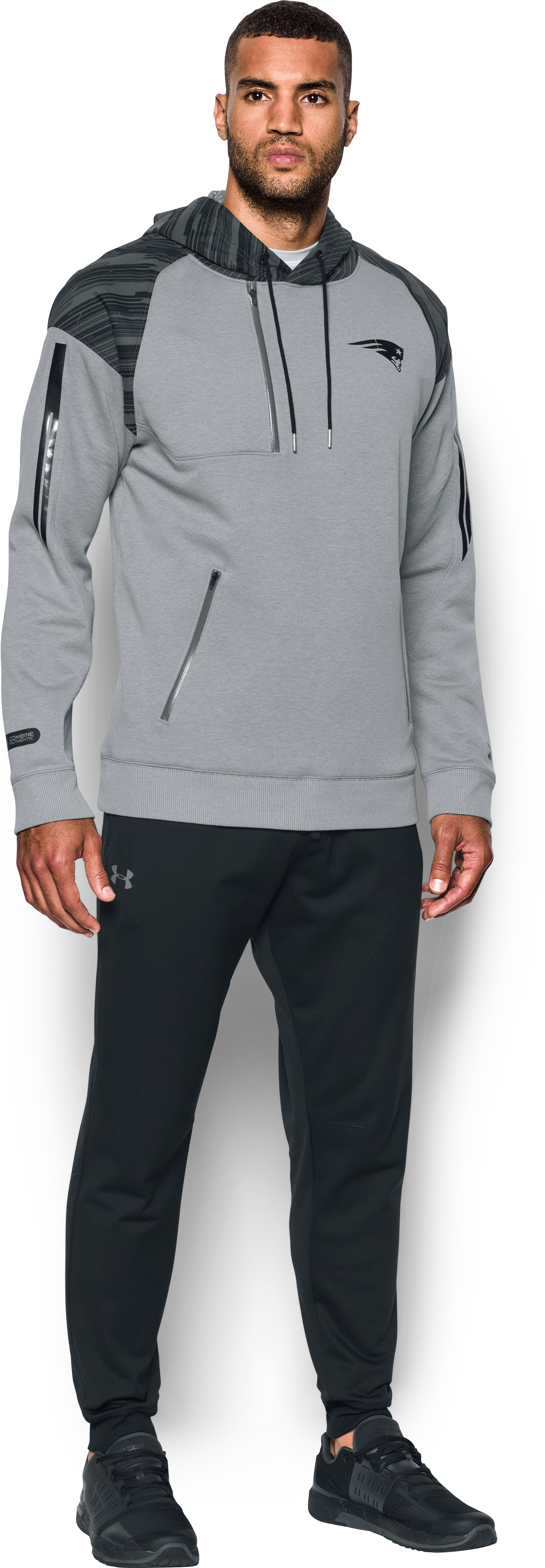 Men's NFL Combine Authentic UA Pinnacle Hoodie, NFL_NEW ENGLAND PATRIOTS_PINANCLE GRAY, Front