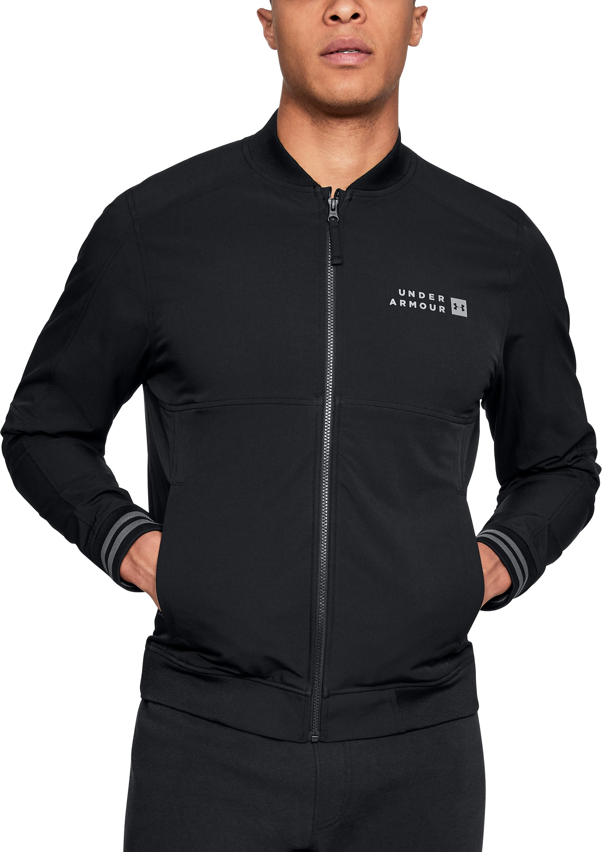 black bombers Men's UA Sportstyle Woven Bomber It is very comfortable and enough for those days that are a little cool but wearable anytime....I absolutely love this jacket....It's perfect for summer nights when it's not actually cold but you want to be more dressed up than just a v-neck and jeans.