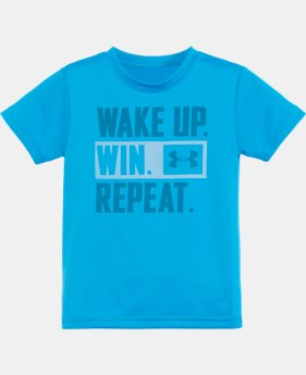 New Arrival Boys' Toddler UA Wake Up Win Repeat Short Sleeve Shirt   $17.99