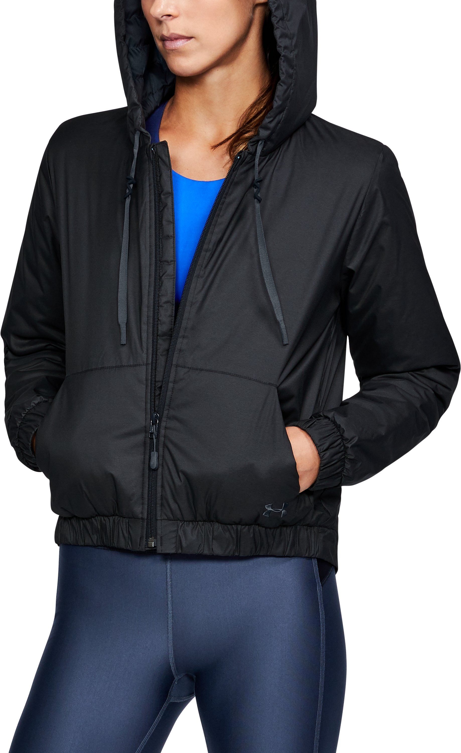 Women's ColdGear® Reactor Crop Hoodie, Black