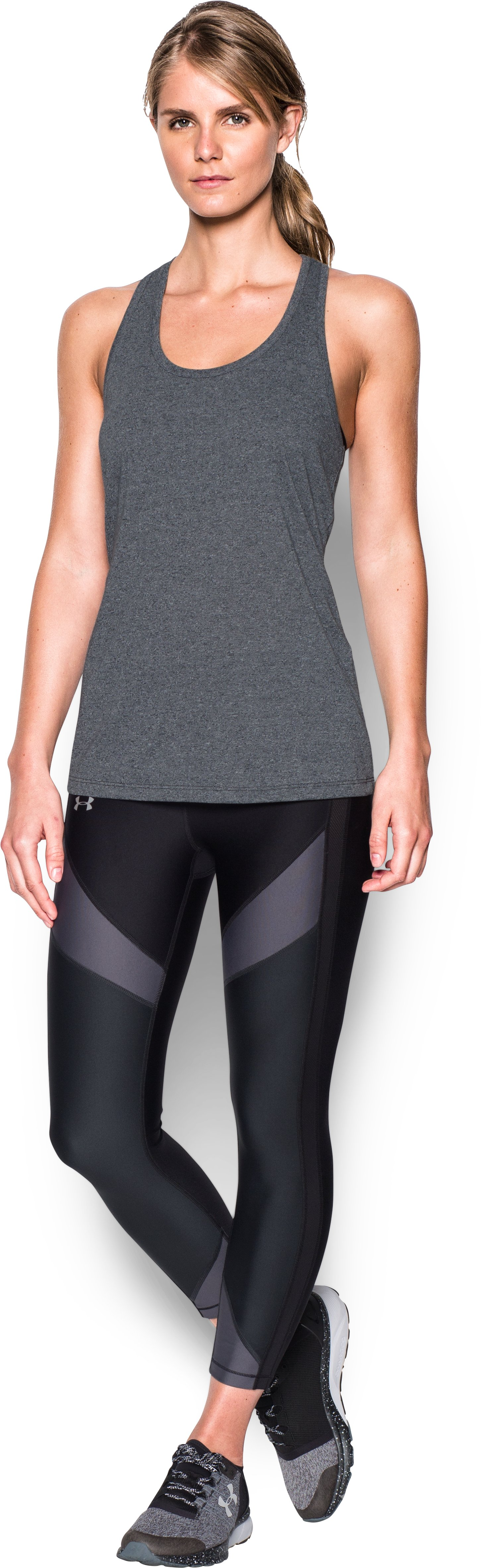 Women's UA Siro Train Twist Tank, Black , Front