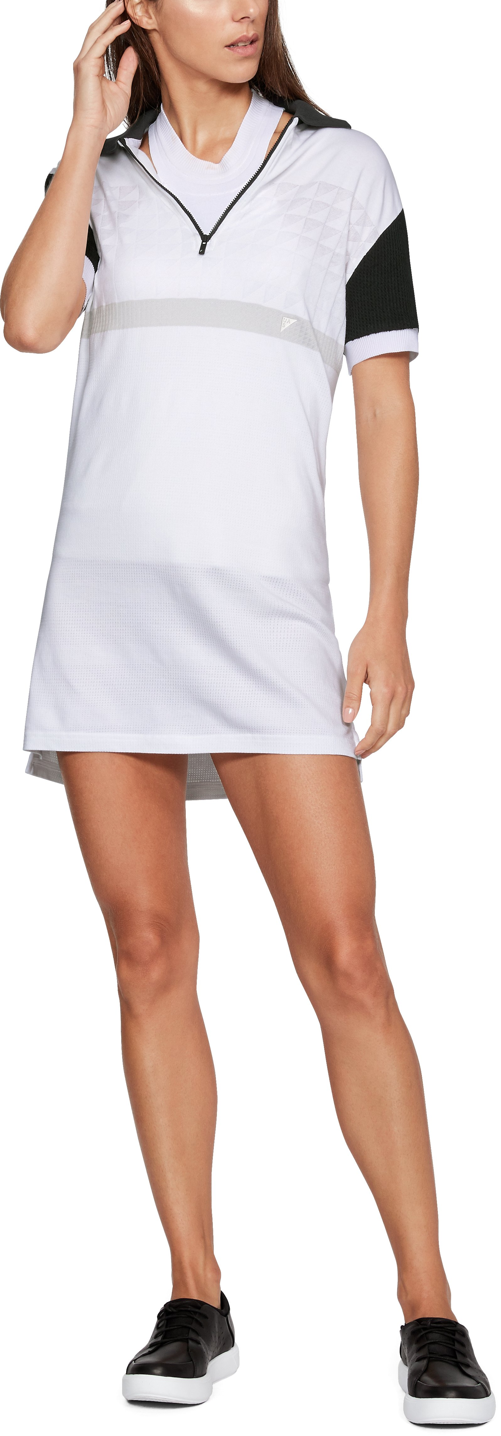 Women's UAS Delta Polo Dress, White,