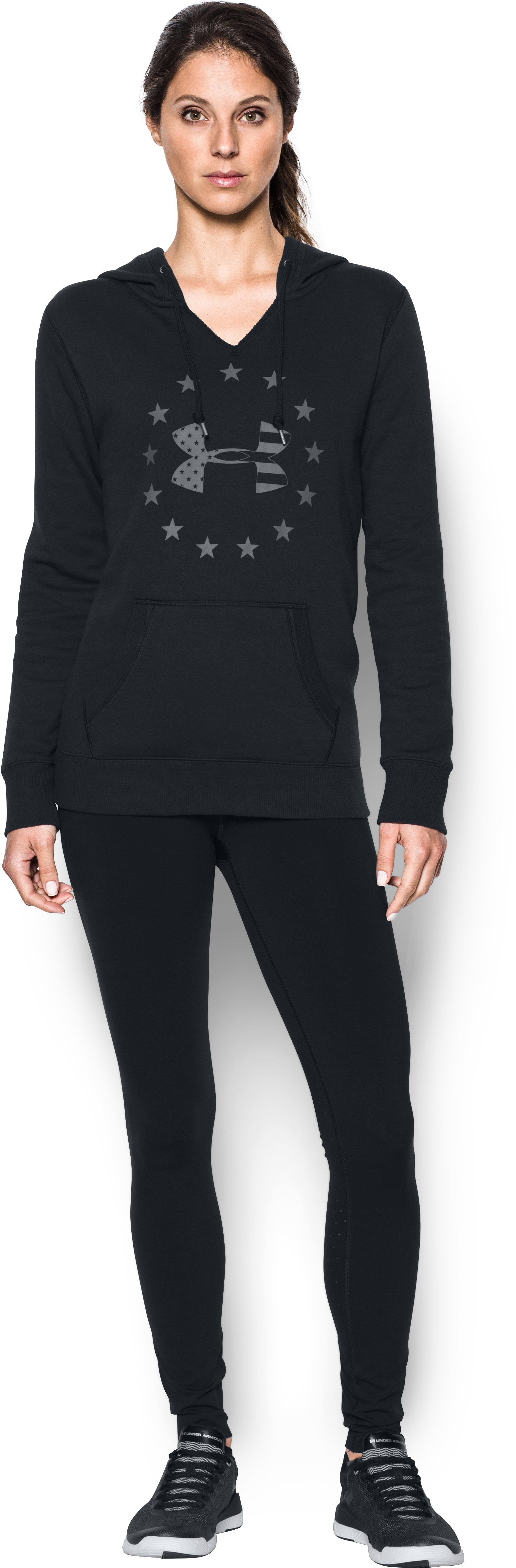 UA Freedom Logo Favorite Fleece Hoodie, Black , Front