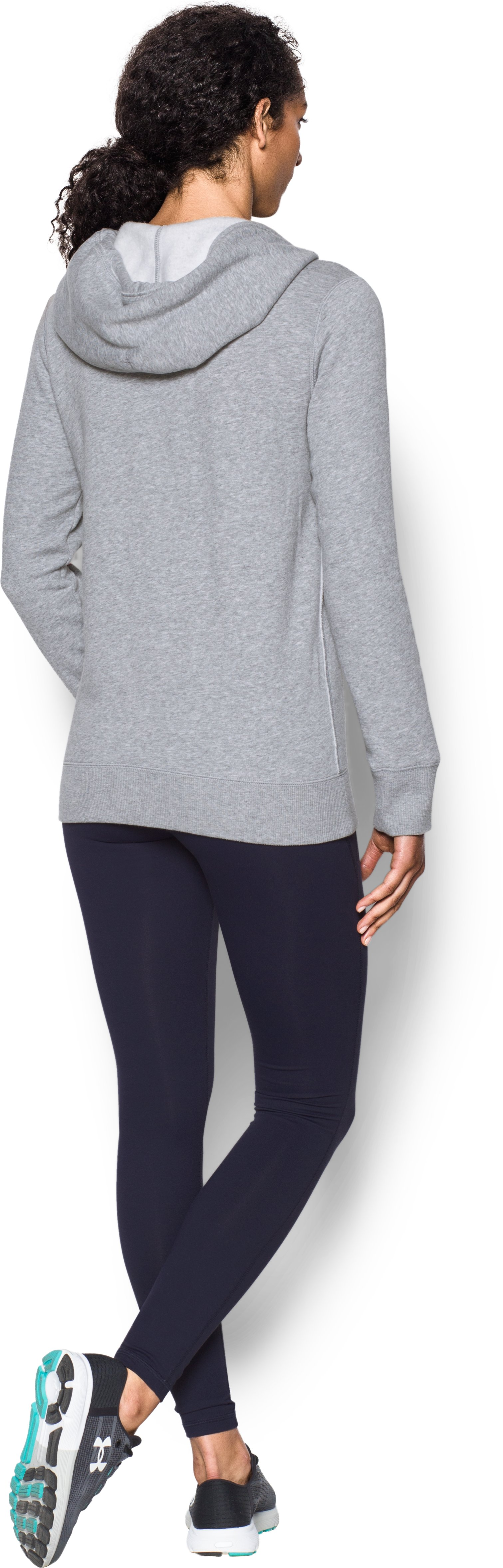 UA Freedom Logo Favorite Fleece Hoodie, True Gray Heather, Back