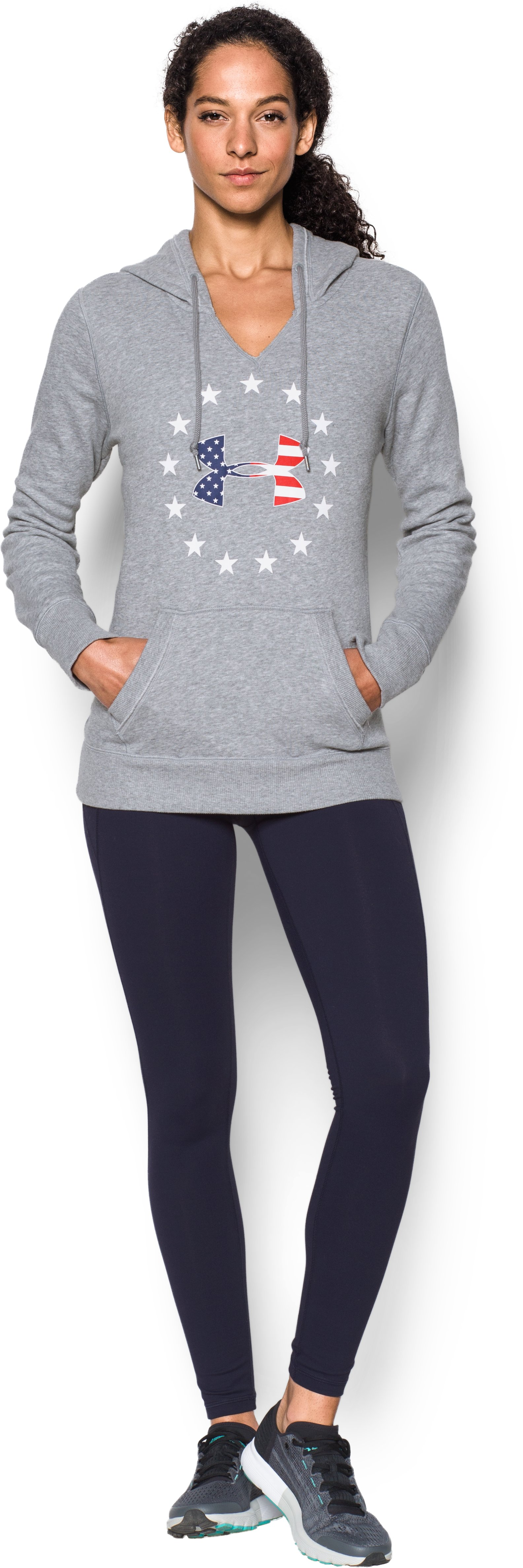 UA Freedom Logo Favorite Fleece Hoodie, True Gray Heather, Front