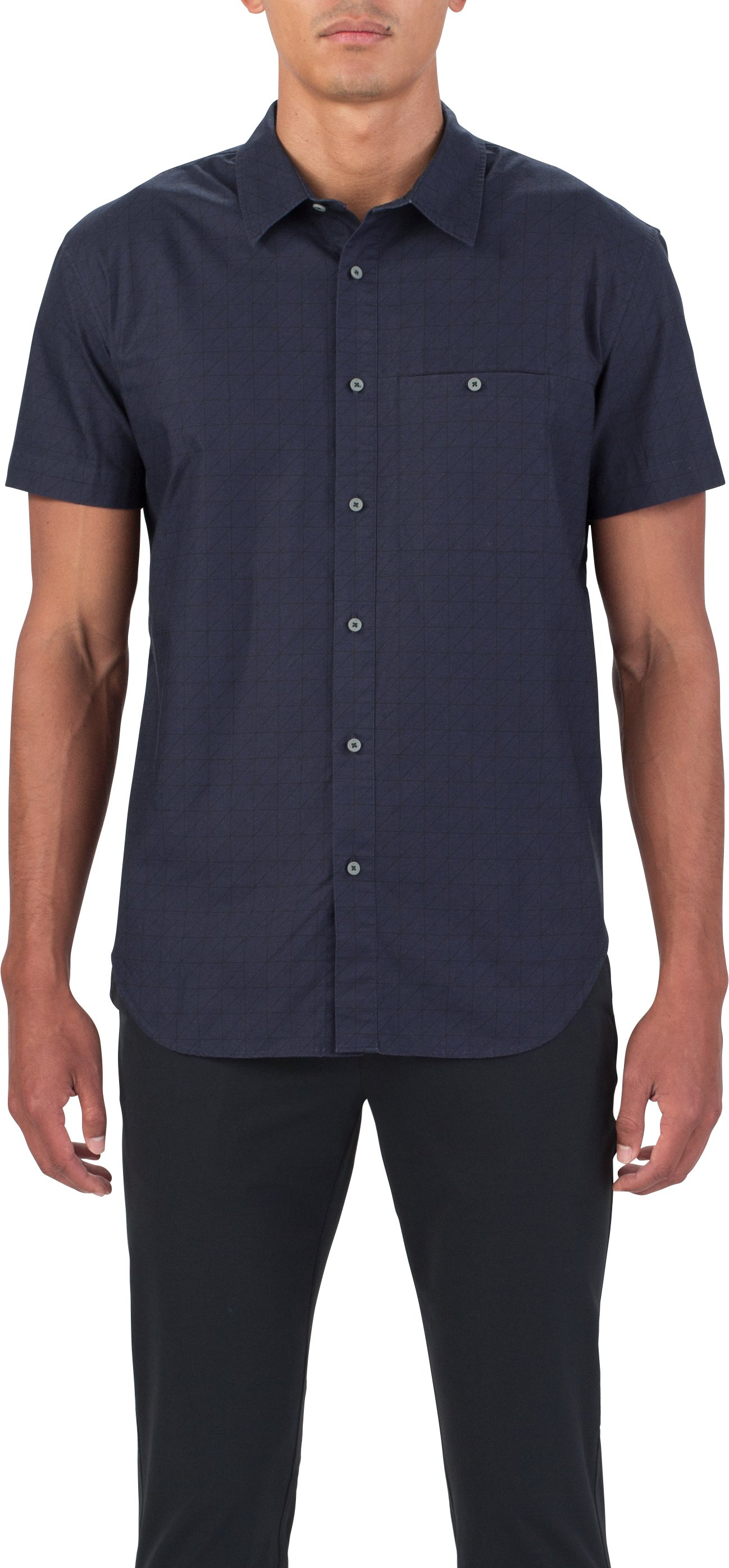 Men's UAS Draftday Pattern Oxford Short Sleeve, Navy