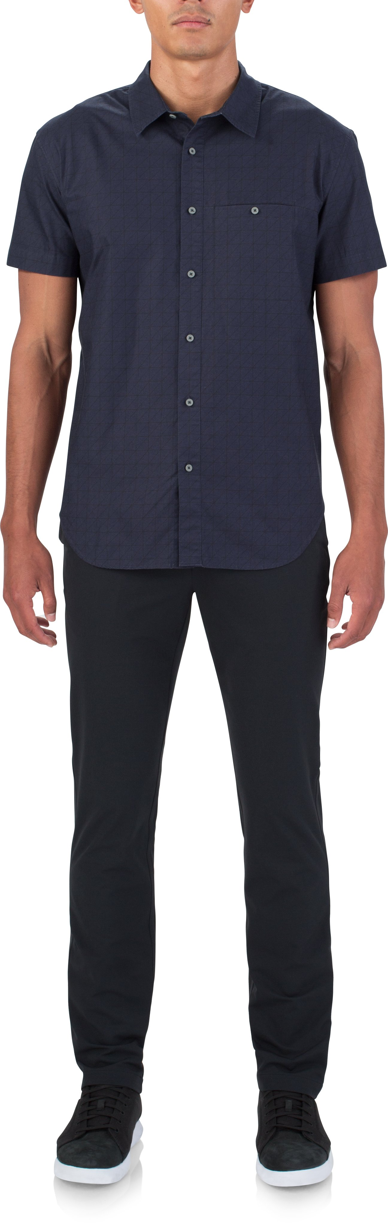 Men's UAS Draftday Pattern Oxford Short Sleeve, Navy, Front