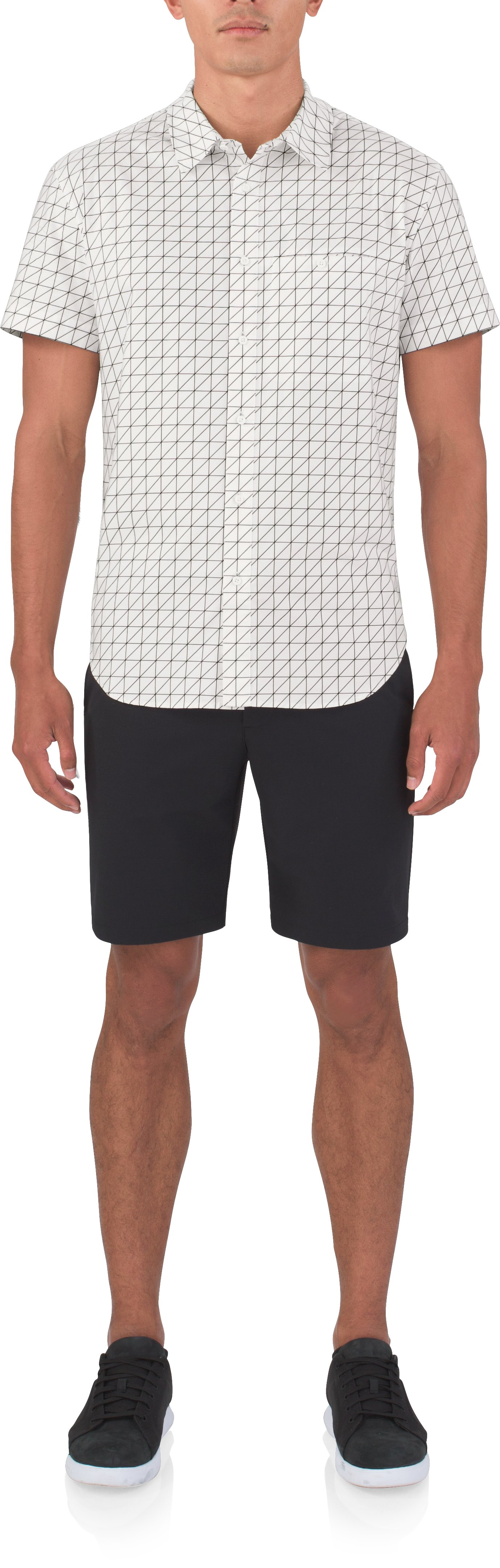 Men's UAS Draftday Pattern Oxford Short Sleeve, White, Front