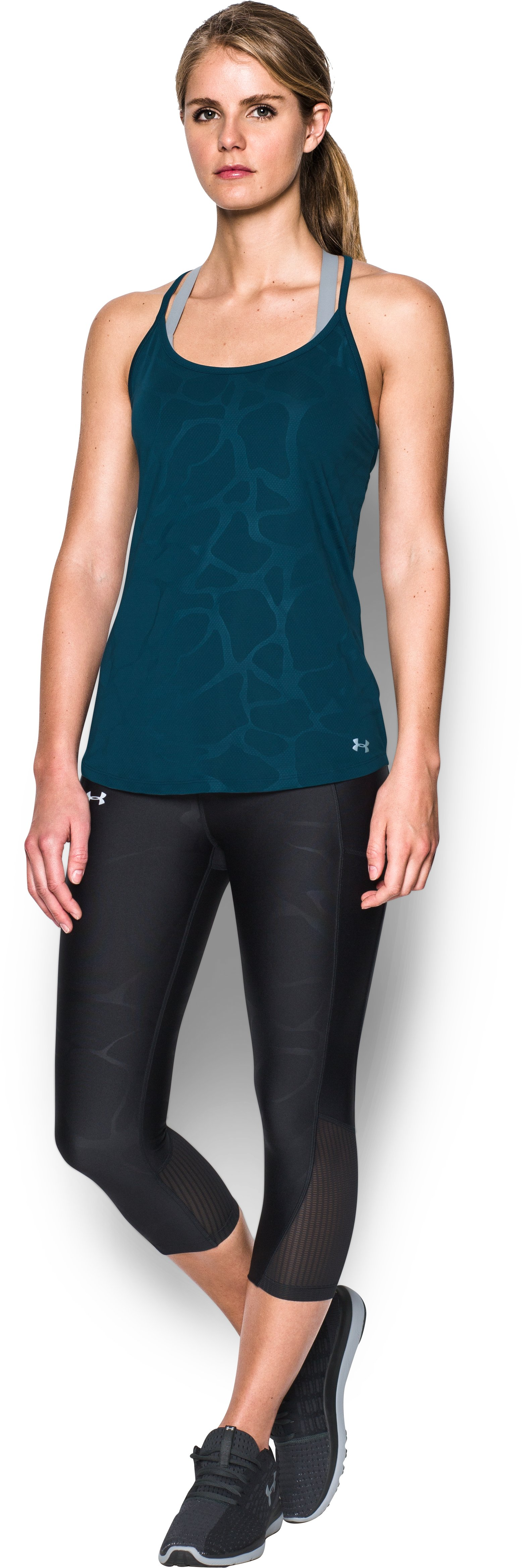 Women's UA Fly-By Embossed Racer Tank, TRUE INK, Front