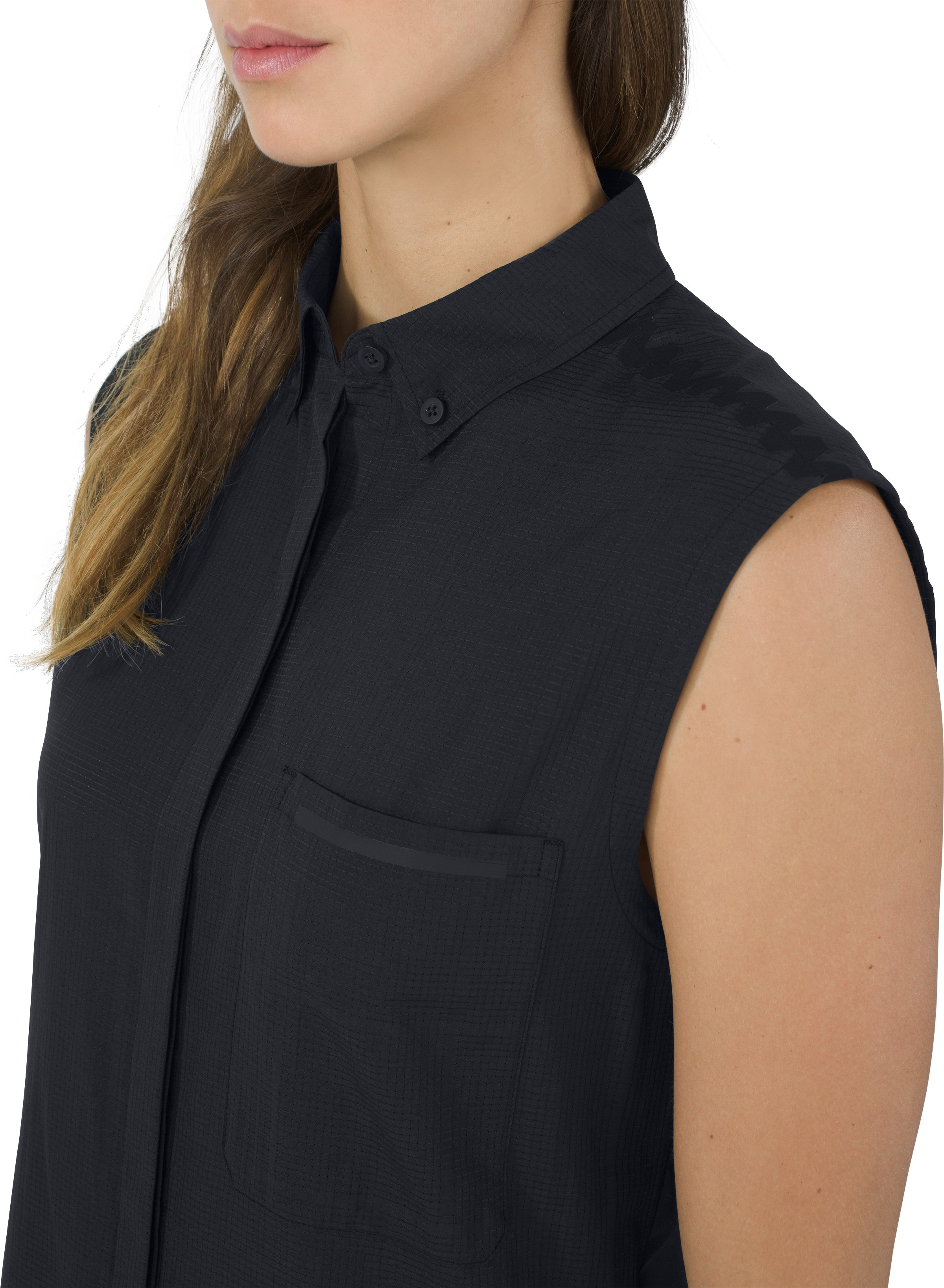 Sleeveless Shirt Solid, Black ,